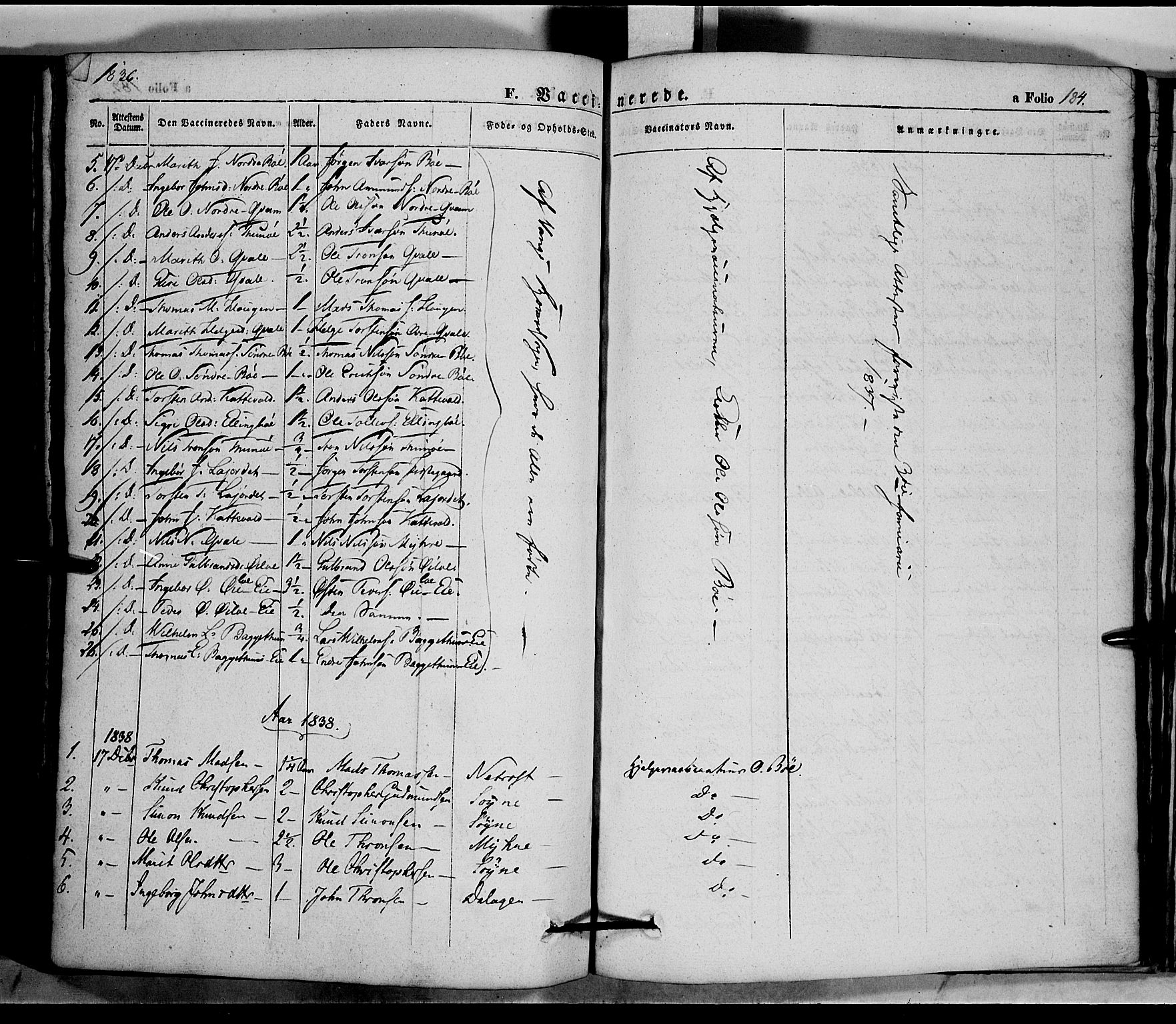 SAH, Vang prestekontor, Valdres, Ministerialbok nr. 5, 1831-1845, s. 184