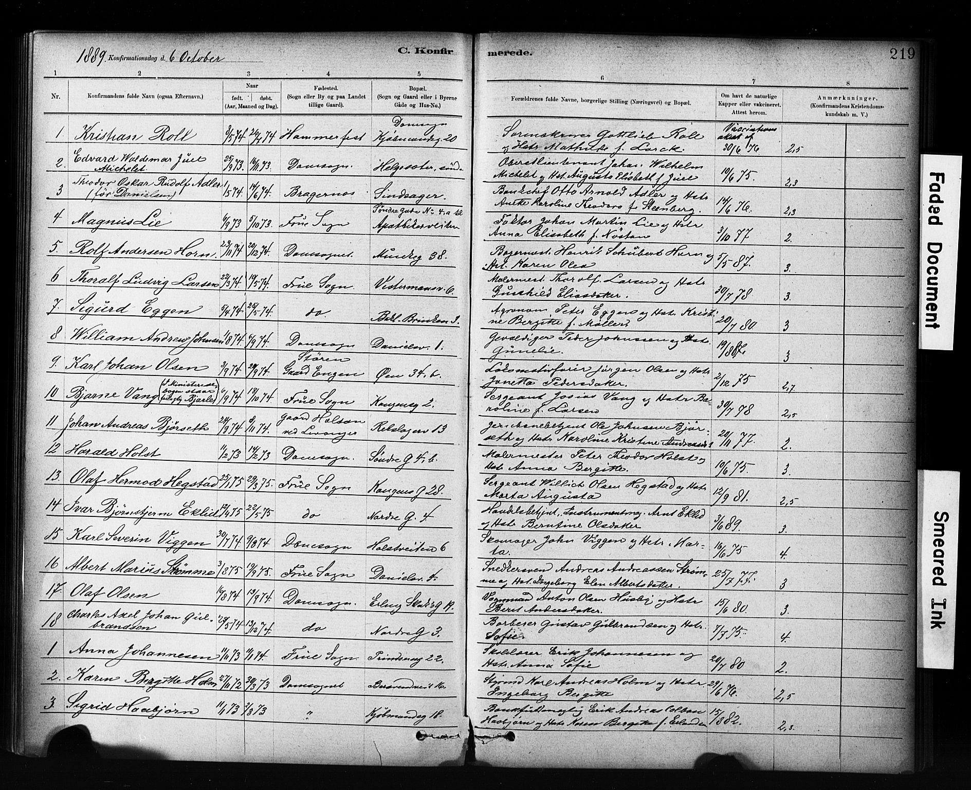 SAT, Ministerialprotokoller, klokkerbøker og fødselsregistre - Sør-Trøndelag, 601/L0071: Residerende kapellans bok nr. 601B04, 1882-1931, s. 219