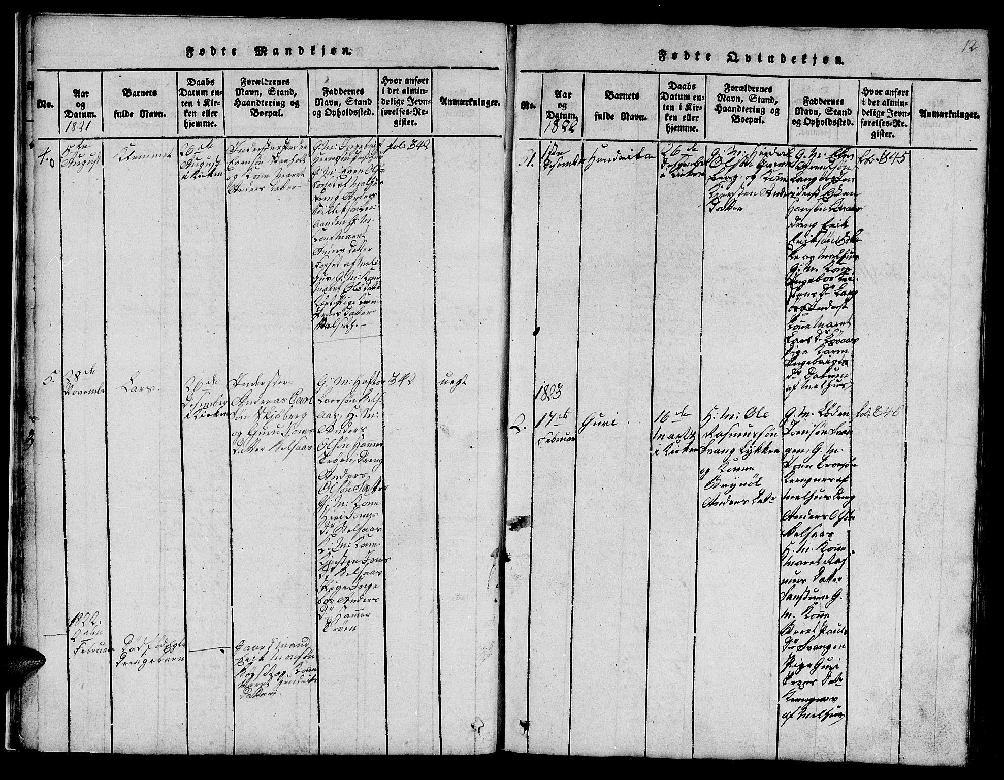 SAT, Ministerialprotokoller, klokkerbøker og fødselsregistre - Sør-Trøndelag, 666/L0788: Klokkerbok nr. 666C01, 1816-1847, s. 12