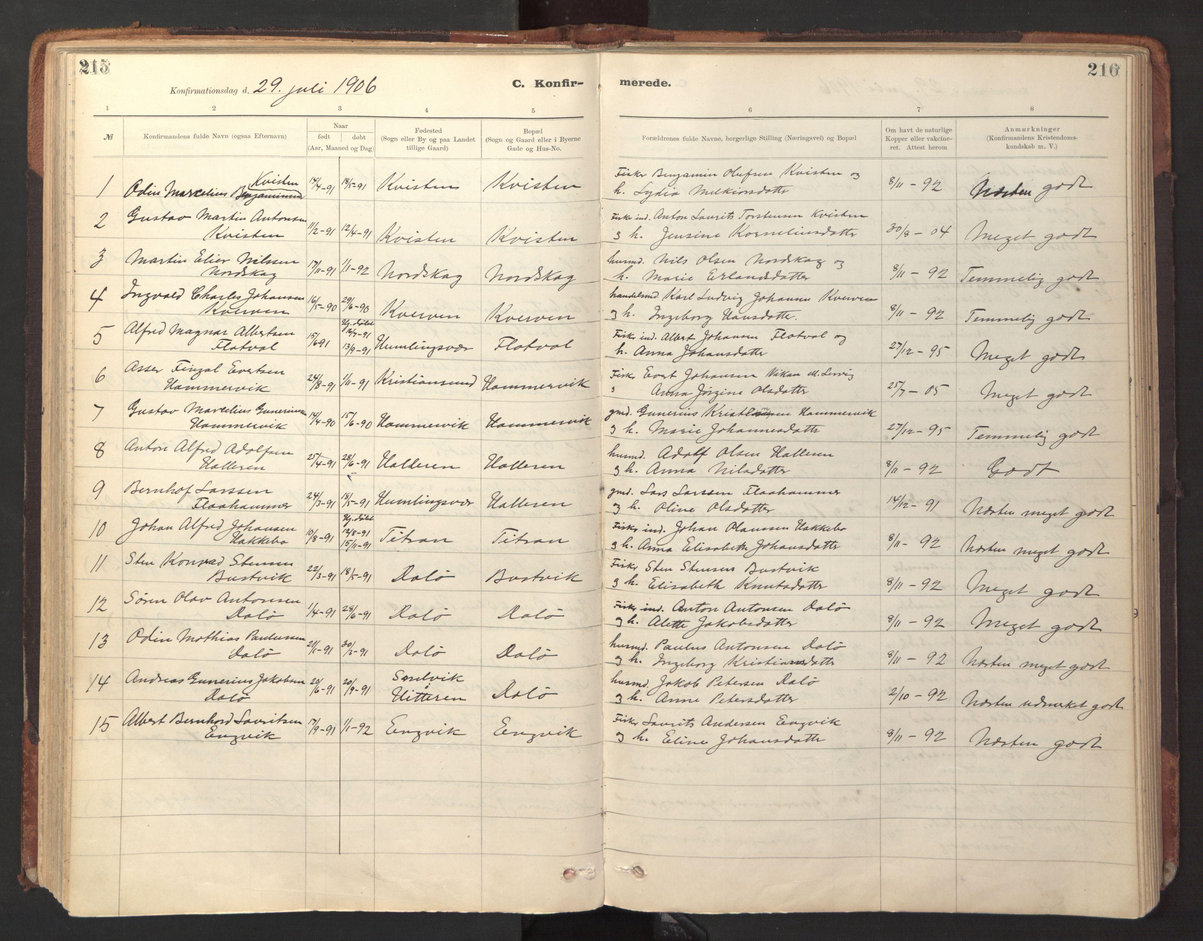 SAT, Ministerialprotokoller, klokkerbøker og fødselsregistre - Sør-Trøndelag, 641/L0596: Ministerialbok nr. 641A02, 1898-1915, s. 215-216