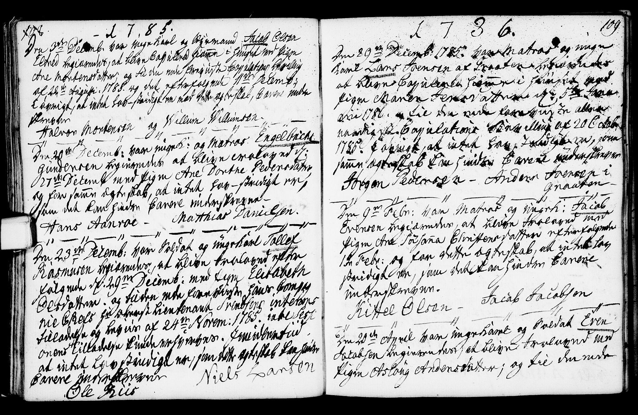 SAKO, Porsgrunn kirkebøker , F/Fa/L0003: Ministerialbok nr. 3, 1764-1814, s. 108-109