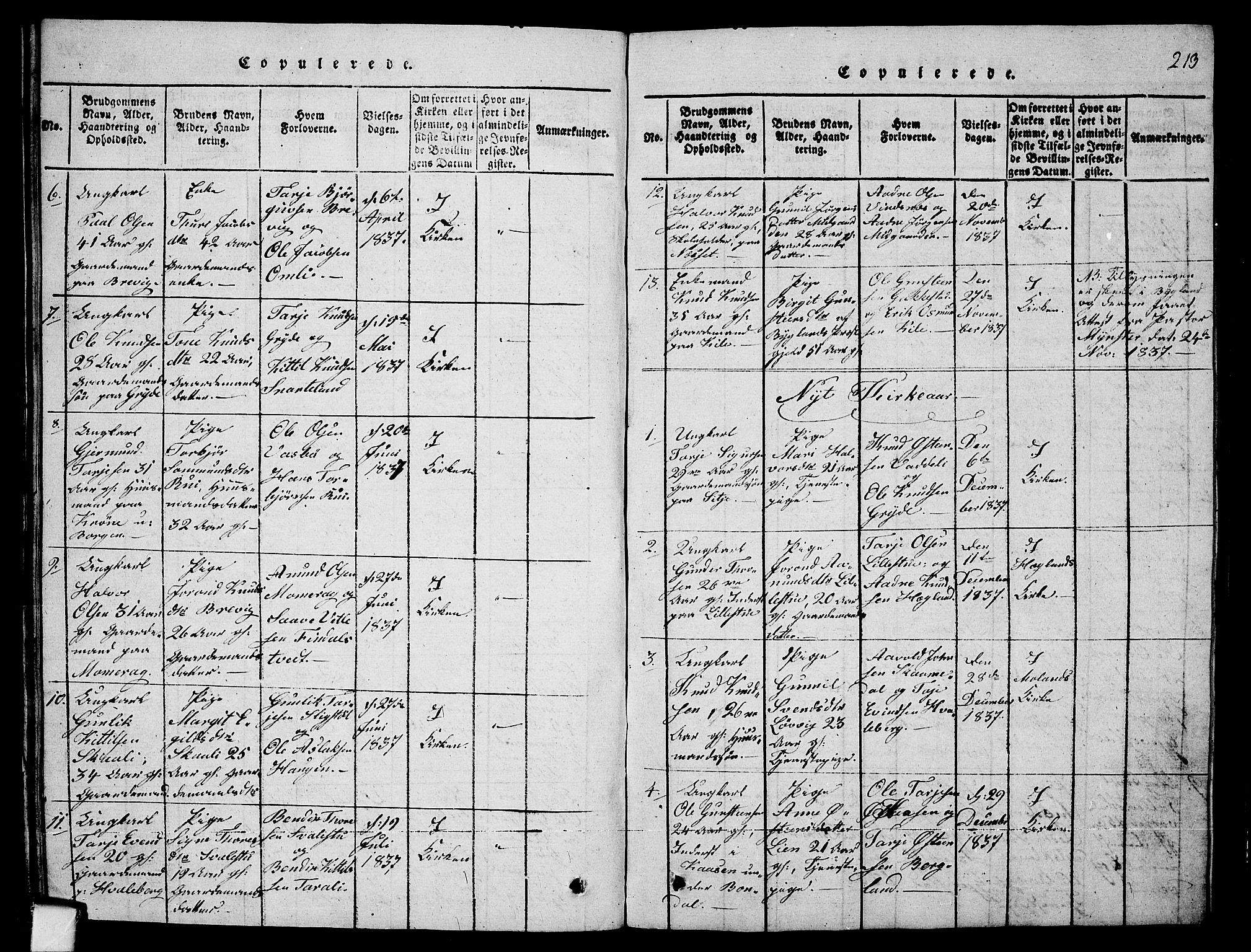 SAKO, Fyresdal kirkebøker, G/Ga/L0001: Klokkerbok nr. I 1, 1816-1840, s. 213
