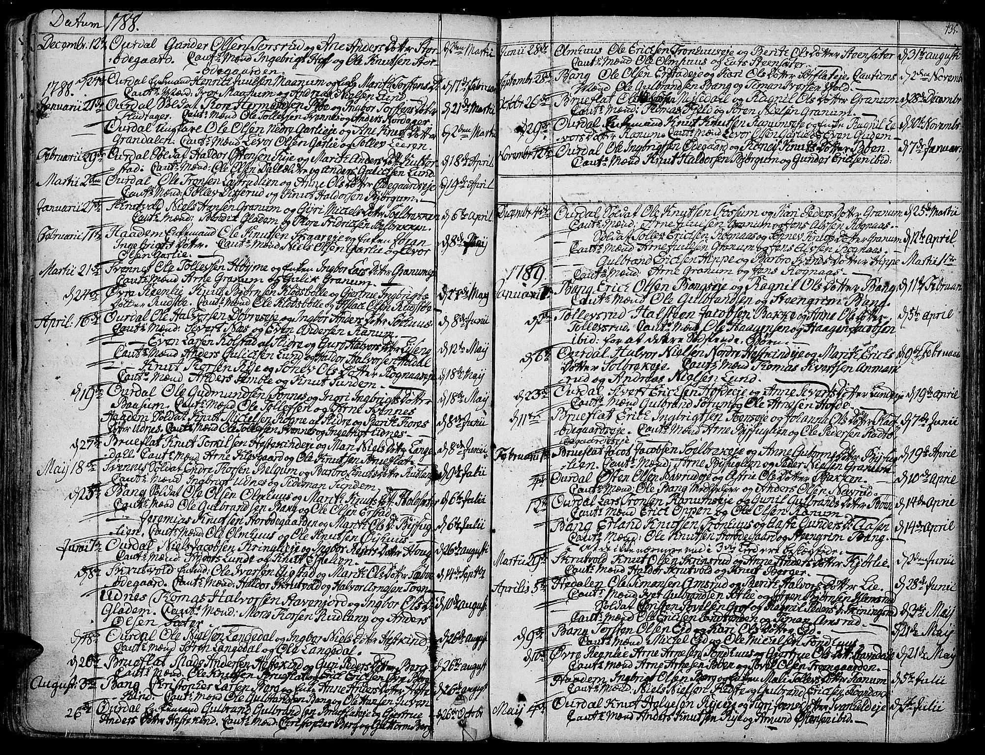 SAH, Aurdal prestekontor, Ministerialbok nr. 6, 1781-1804, s. 135