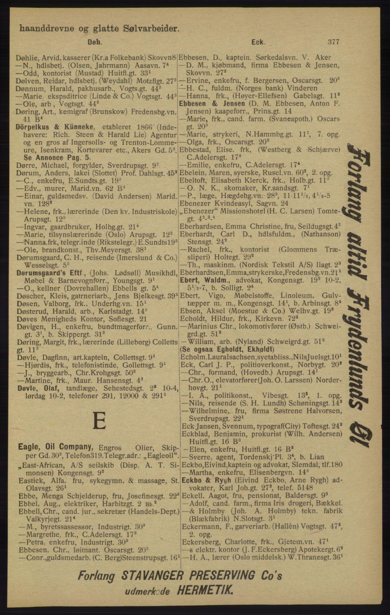 RA, Kristiania adressebok (publikasjon)*, 1913, s. 377