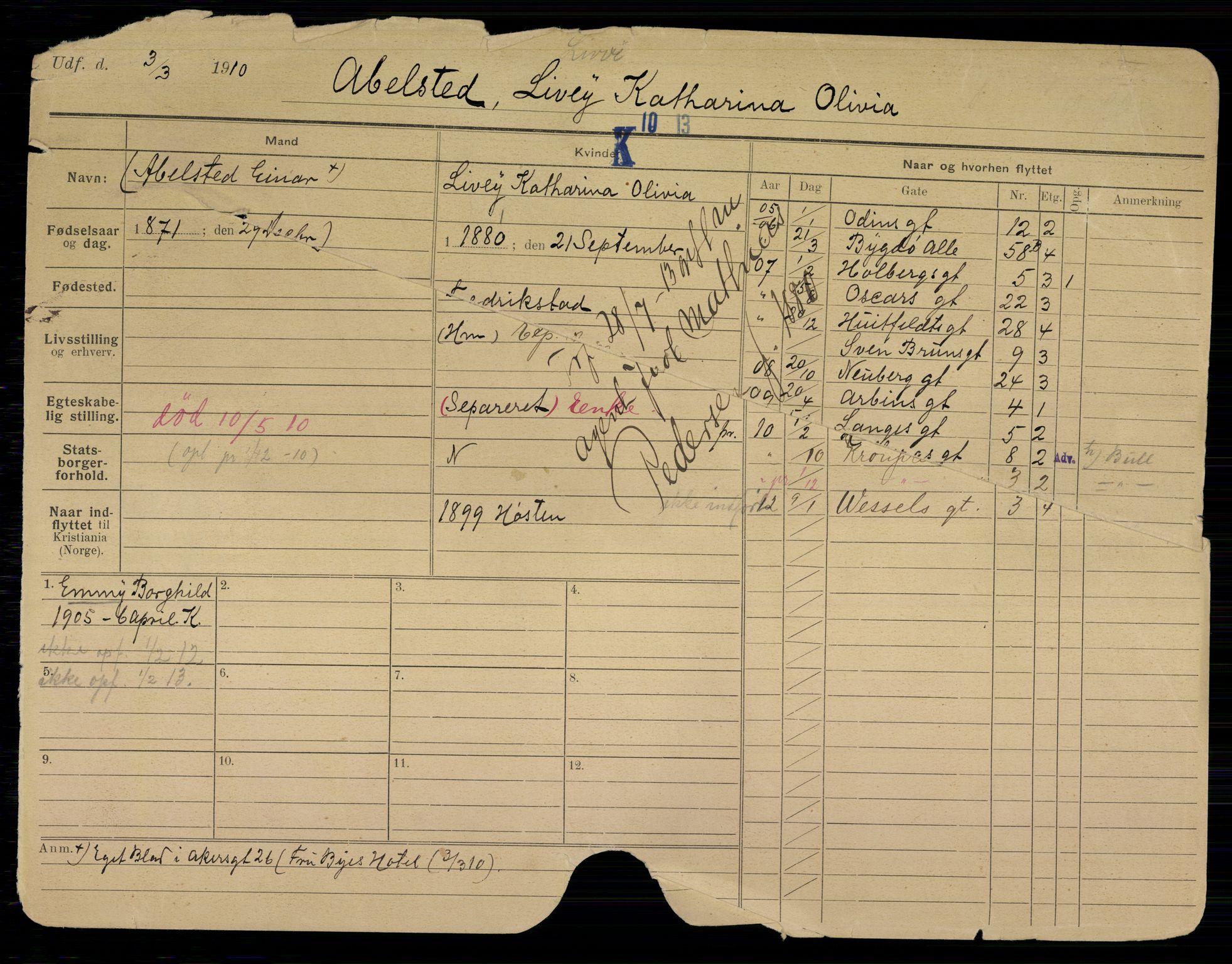 SAO, Oslo folkeregister, Registerkort, K/Kb/L0016: A - G, 1913