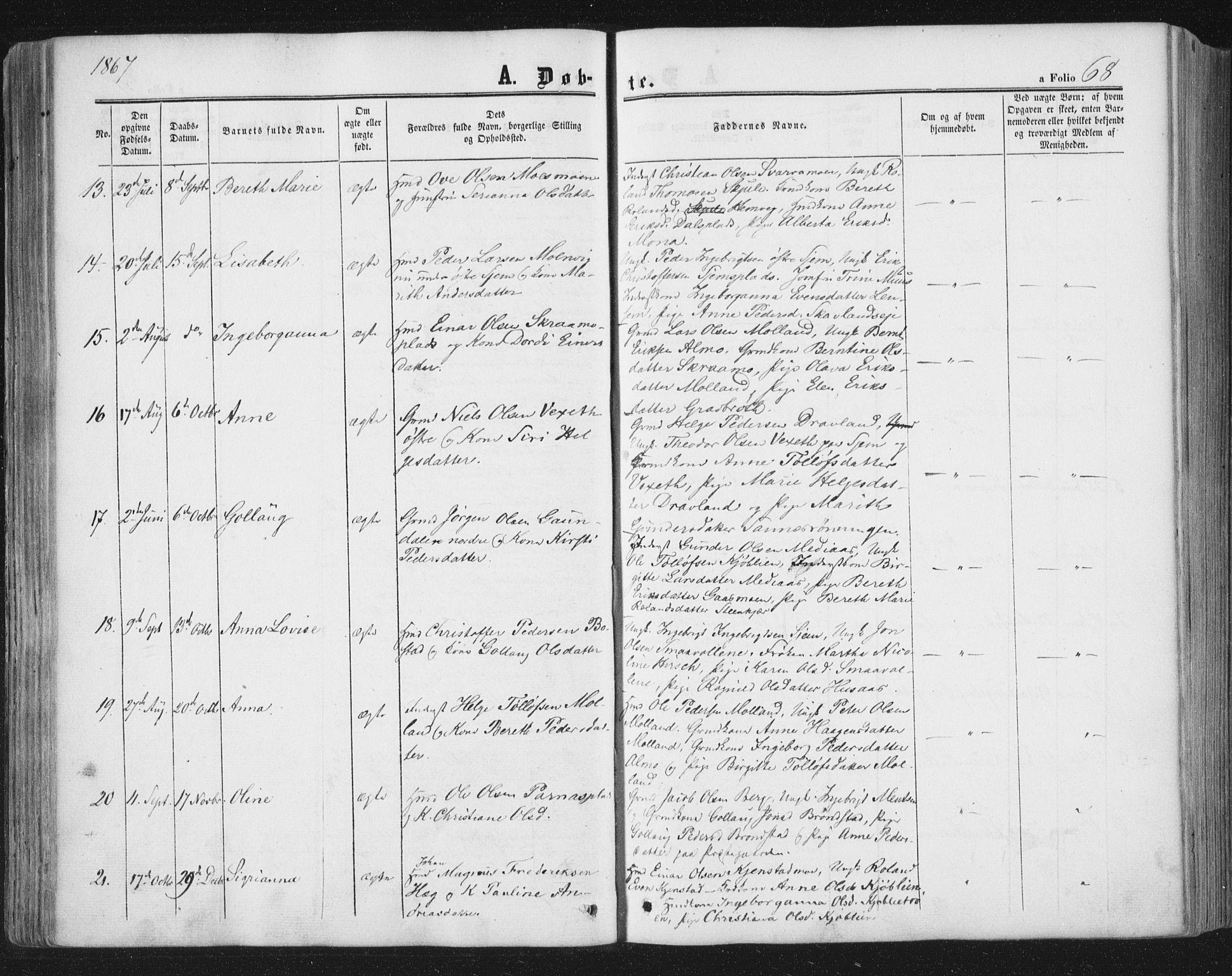 SAT, Ministerialprotokoller, klokkerbøker og fødselsregistre - Nord-Trøndelag, 749/L0472: Ministerialbok nr. 749A06, 1857-1873, s. 68