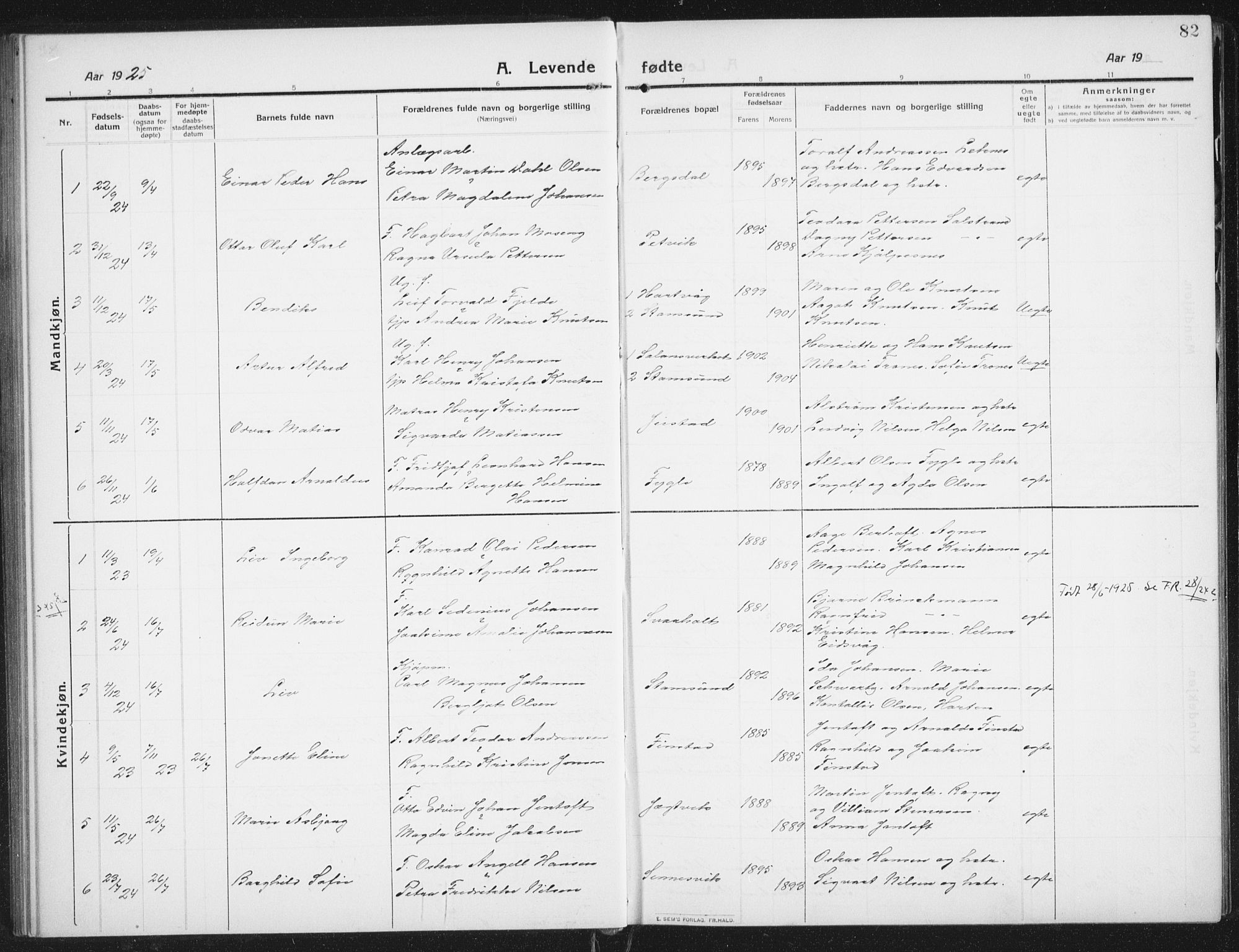 SAT, Ministerialprotokoller, klokkerbøker og fødselsregistre - Nordland, 882/L1183: Klokkerbok nr. 882C01, 1911-1938, s. 82