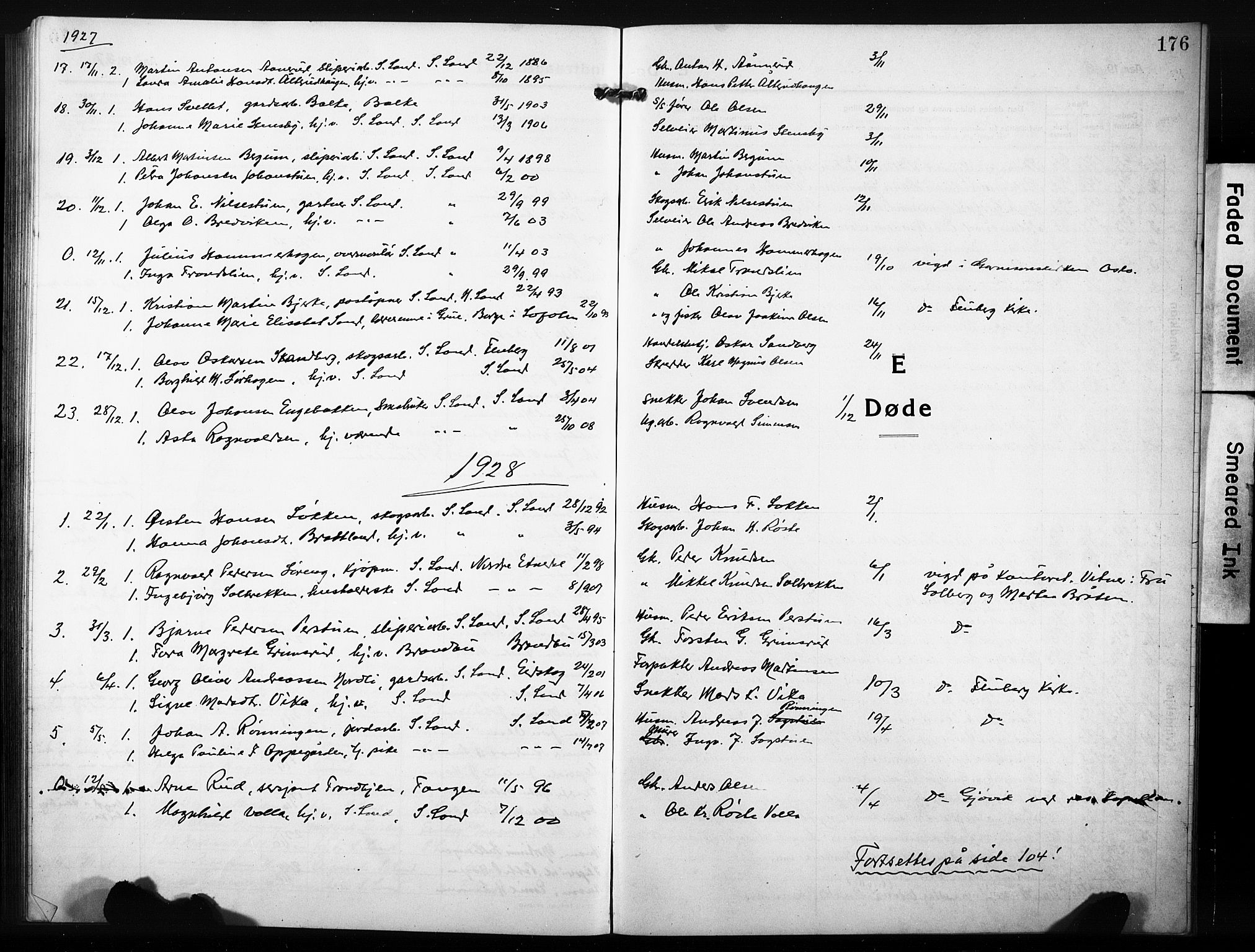 SAH, Søndre Land prestekontor, L/L0007: Klokkerbok nr. 7, 1915-1932, s. 176