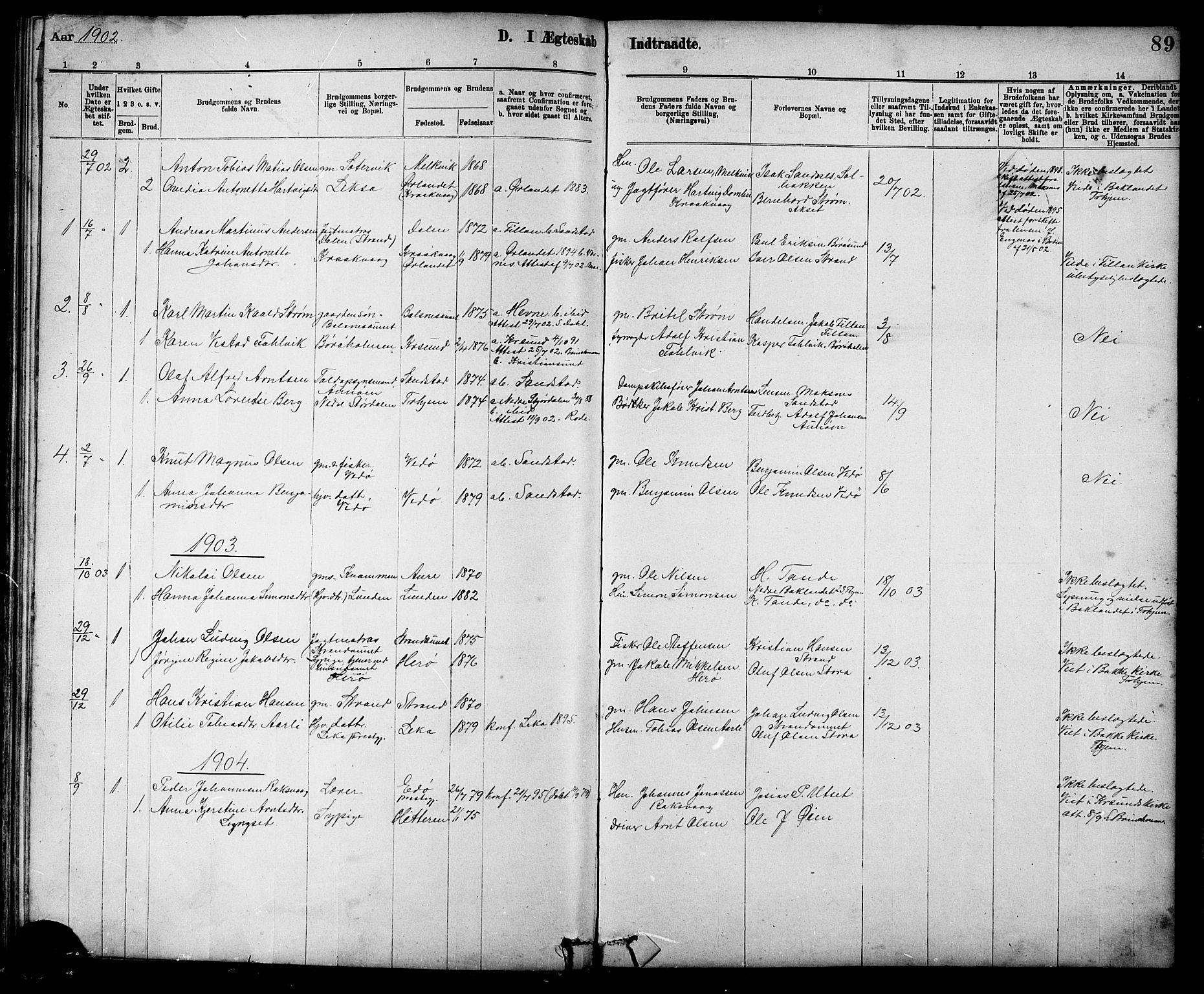 SAT, Ministerialprotokoller, klokkerbøker og fødselsregistre - Sør-Trøndelag, 639/L0573: Klokkerbok nr. 639C01, 1890-1905, s. 89
