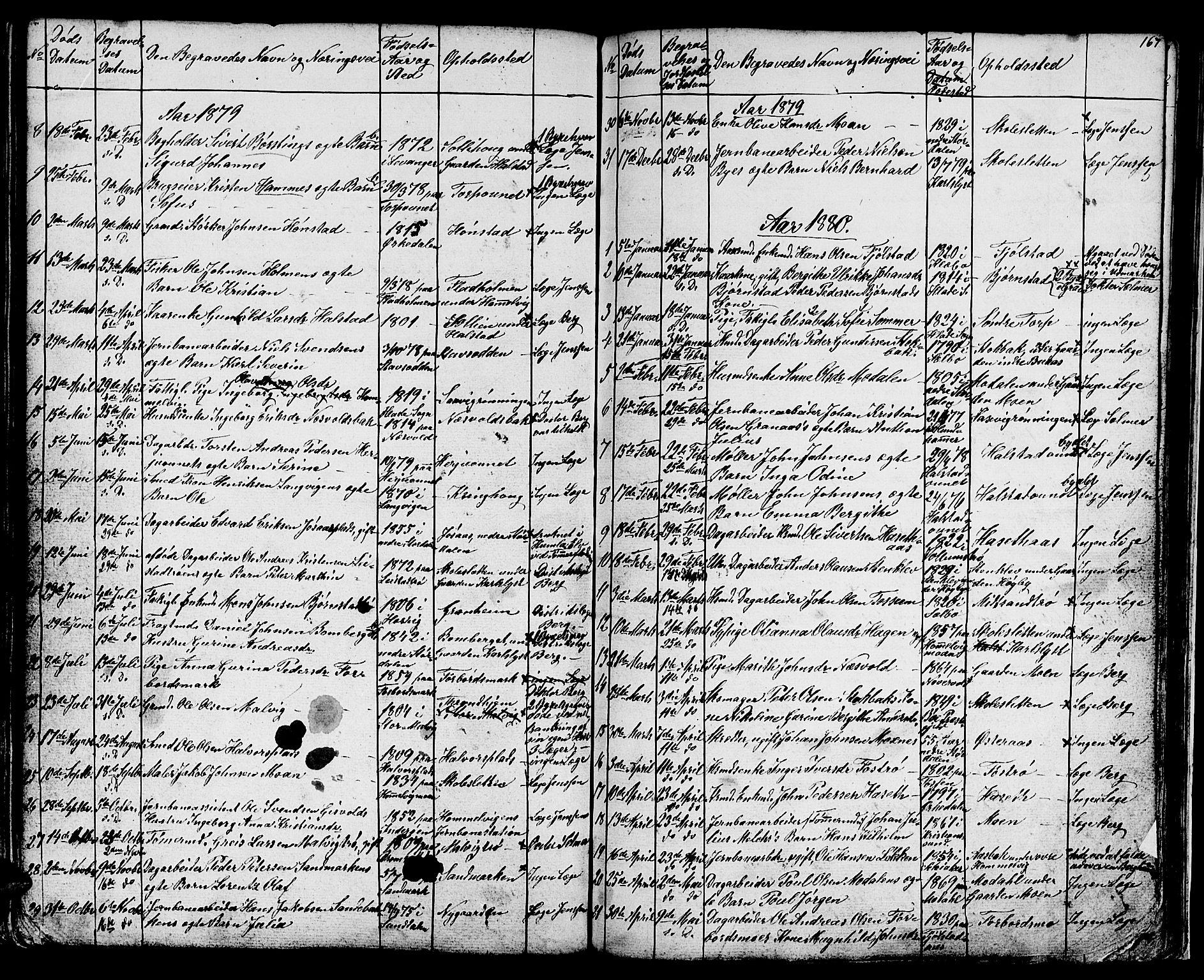 SAT, Ministerialprotokoller, klokkerbøker og fødselsregistre - Sør-Trøndelag, 616/L0422: Klokkerbok nr. 616C05, 1850-1888, s. 167