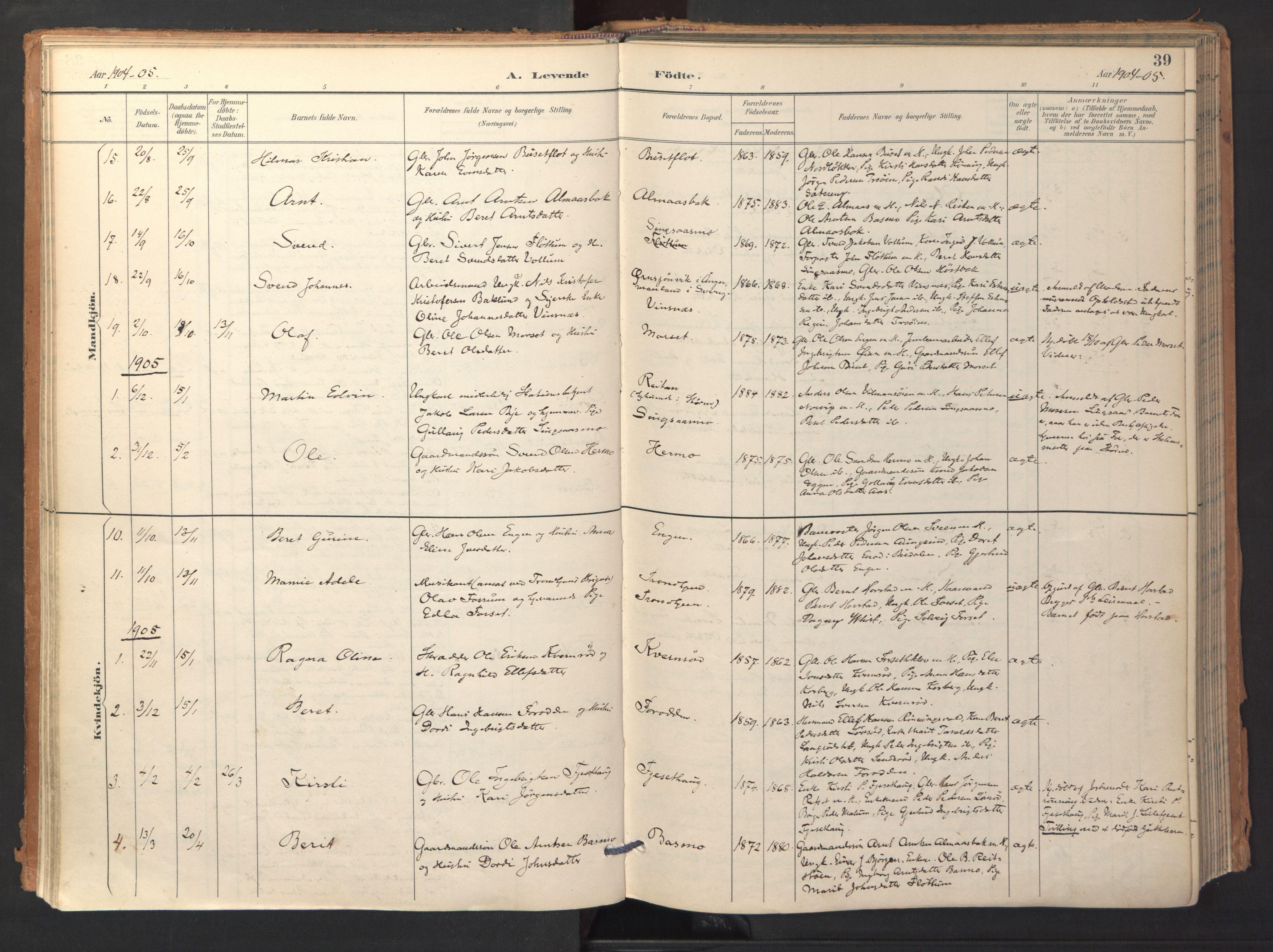SAT, Ministerialprotokoller, klokkerbøker og fødselsregistre - Sør-Trøndelag, 688/L1025: Ministerialbok nr. 688A02, 1891-1909, s. 39
