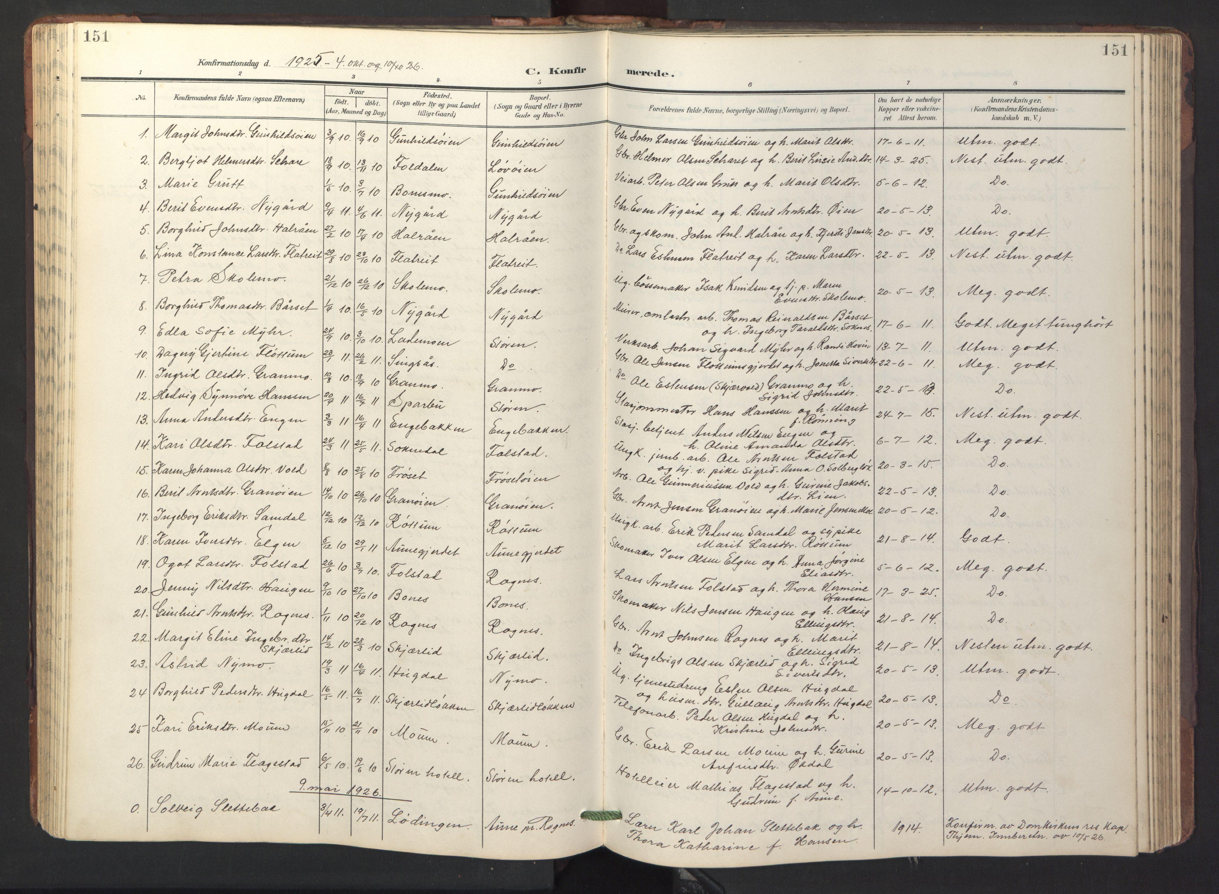 SAT, Ministerialprotokoller, klokkerbøker og fødselsregistre - Sør-Trøndelag, 687/L1019: Klokkerbok nr. 687C03, 1904-1931, s. 151