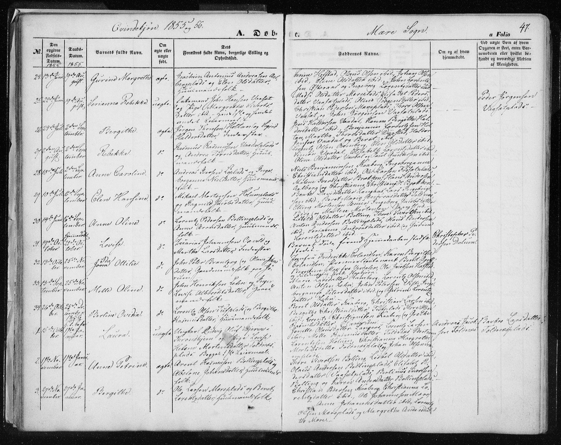 SAT, Ministerialprotokoller, klokkerbøker og fødselsregistre - Nord-Trøndelag, 735/L0342: Ministerialbok nr. 735A07 /1, 1849-1862, s. 47