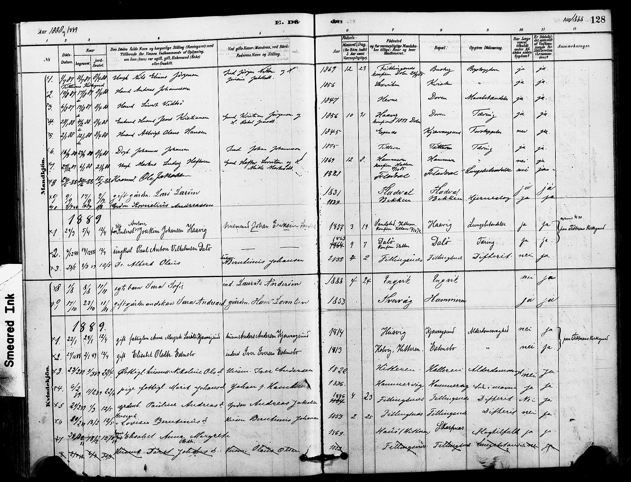 SAT, Ministerialprotokoller, klokkerbøker og fødselsregistre - Sør-Trøndelag, 641/L0595: Ministerialbok nr. 641A01, 1882-1897, s. 128