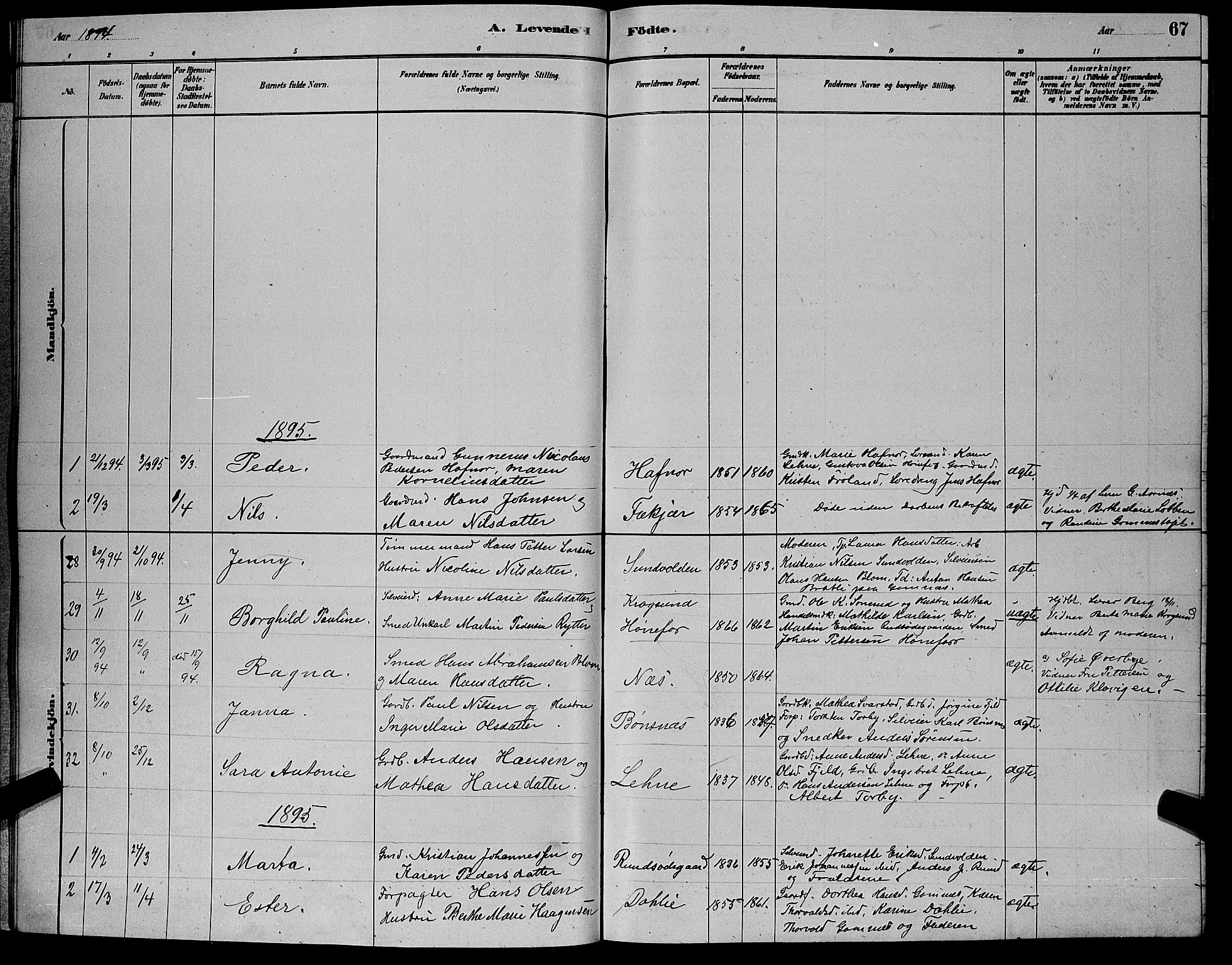 SAKO, Hole kirkebøker, G/Ga/L0003: Klokkerbok nr. I 3, 1879-1904, s. 67
