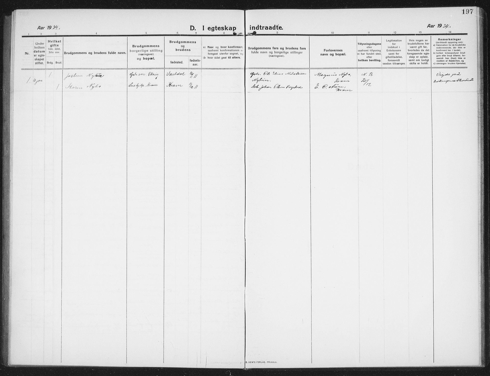 SAT, Ministerialprotokoller, klokkerbøker og fødselsregistre - Nord-Trøndelag, 774/L0630: Klokkerbok nr. 774C01, 1910-1934, s. 197