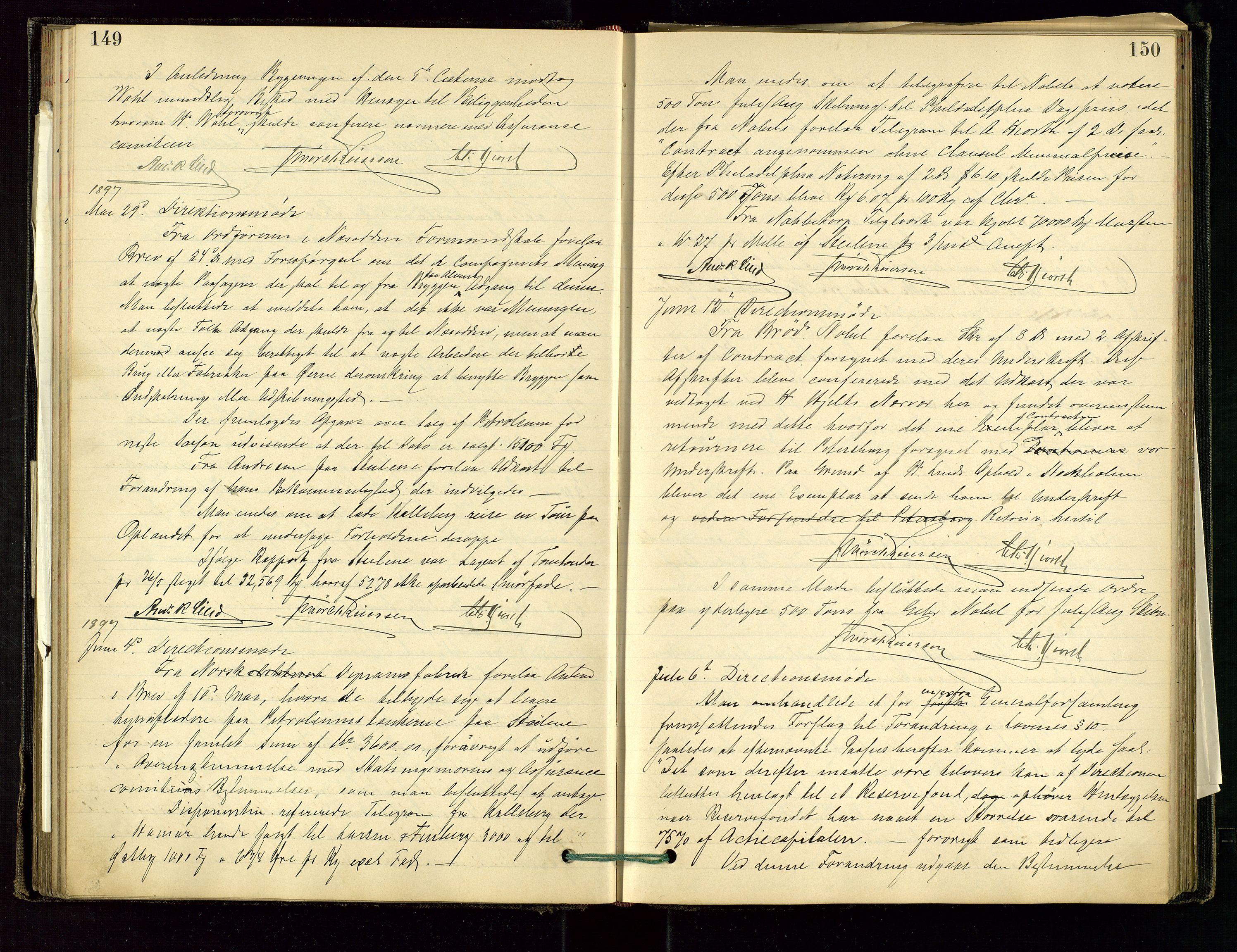 SAST, PA 1534 - Østlandske Petroleumscompagni A/S, A/Aa/L0001: Generalforsamlinger og direksjonsprotokoller., 1892-1905, s. 149-150