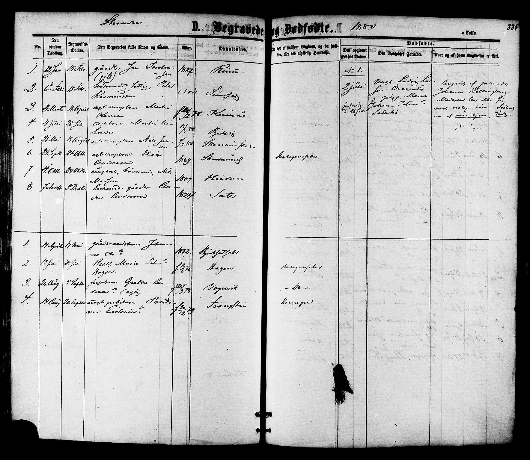 SAT, Ministerialprotokoller, klokkerbøker og fødselsregistre - Nord-Trøndelag, 701/L0009: Ministerialbok nr. 701A09 /2, 1864-1882, s. 335
