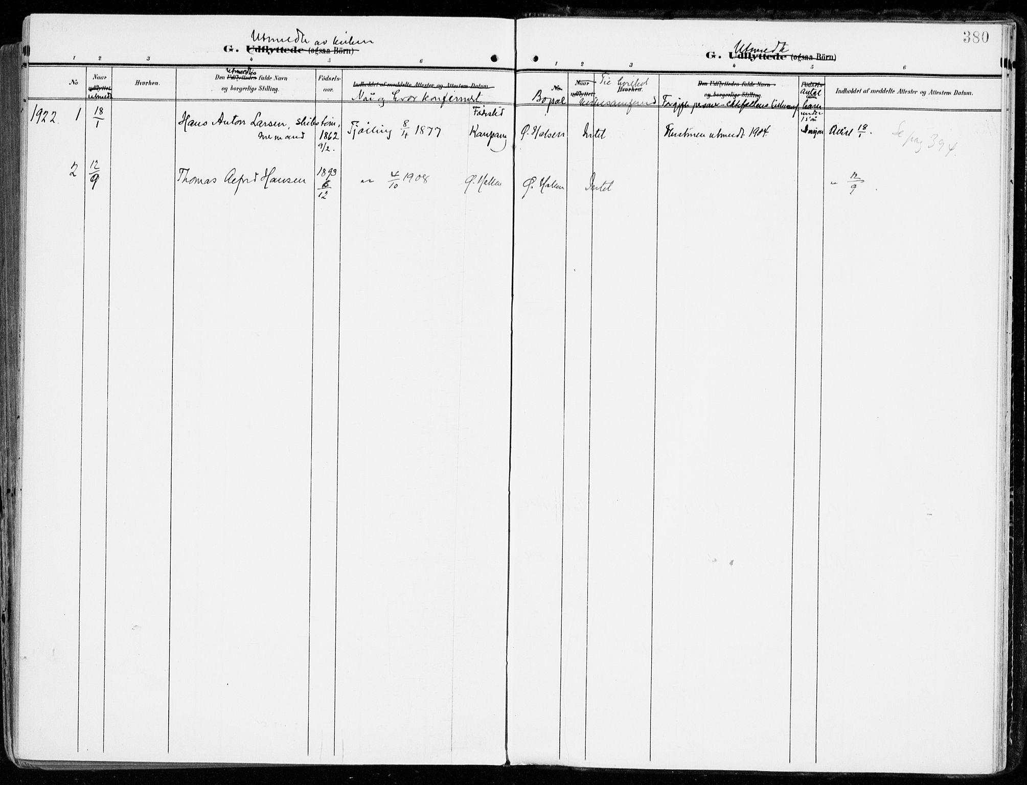 SAKO, Tjølling kirkebøker, F/Fa/L0010: Ministerialbok nr. 10, 1906-1923, s. 380