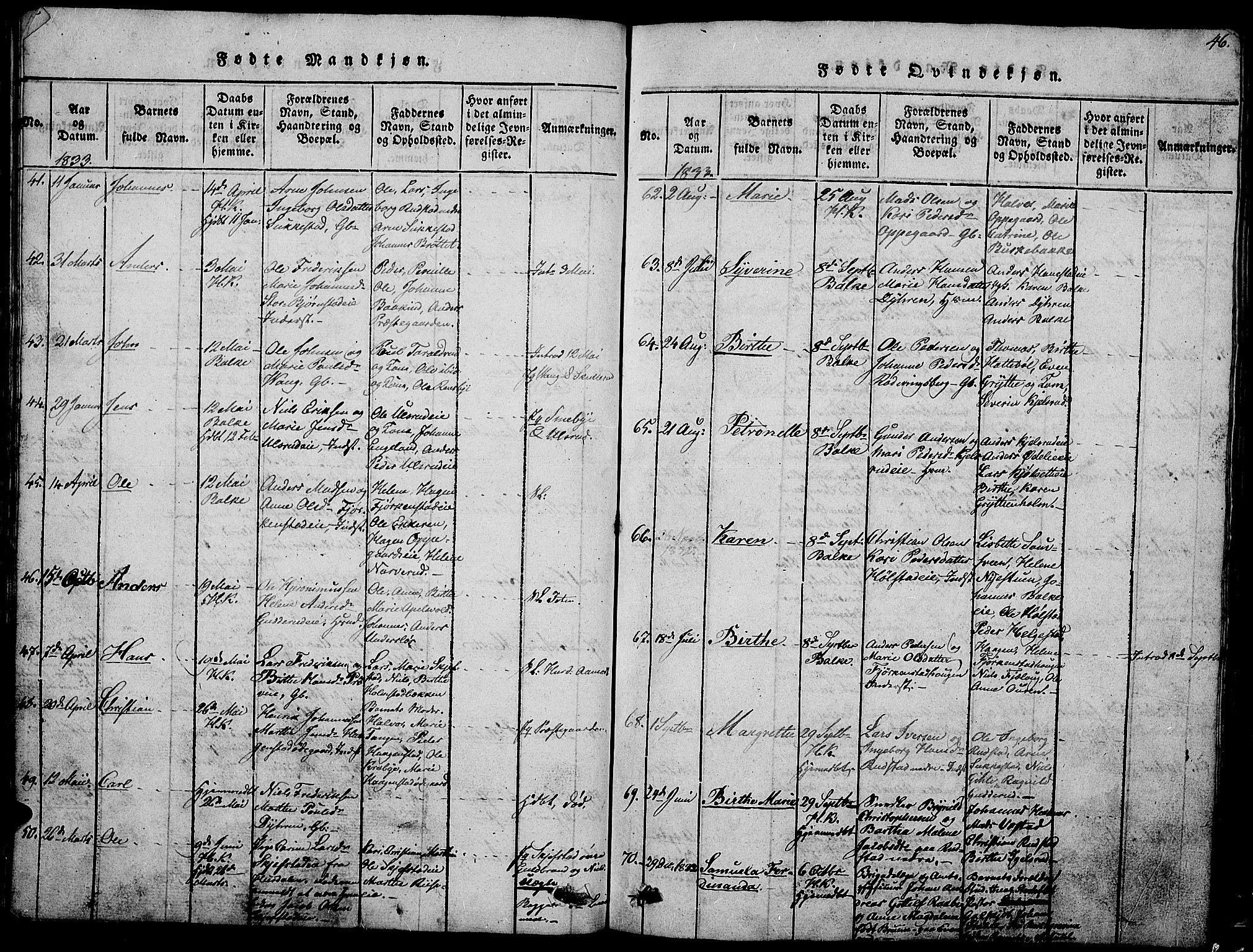 SAH, Østre Toten prestekontor, Klokkerbok nr. 1, 1827-1839, s. 46