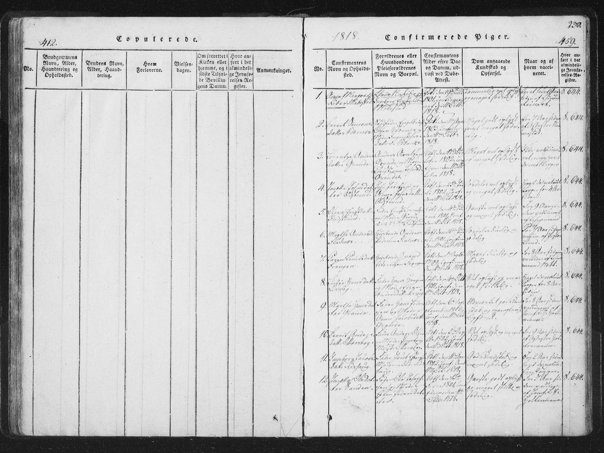 SAT, Ministerialprotokoller, klokkerbøker og fødselsregistre - Sør-Trøndelag, 659/L0734: Ministerialbok nr. 659A04, 1818-1825, s. 412-459