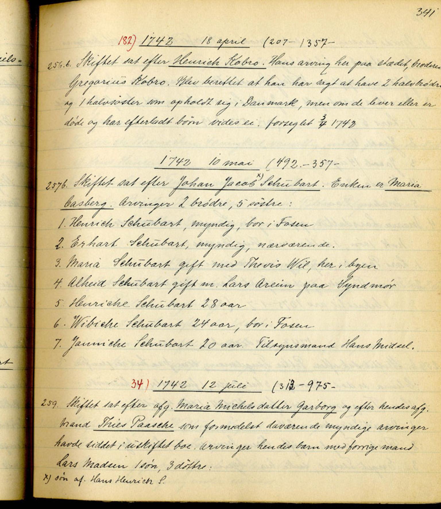 SAB, Sollied, Olaf og Thora - samlinger, 01/L0010: Skifte: Utdrag av skifteprotokoller, 1740-1759, s. 341