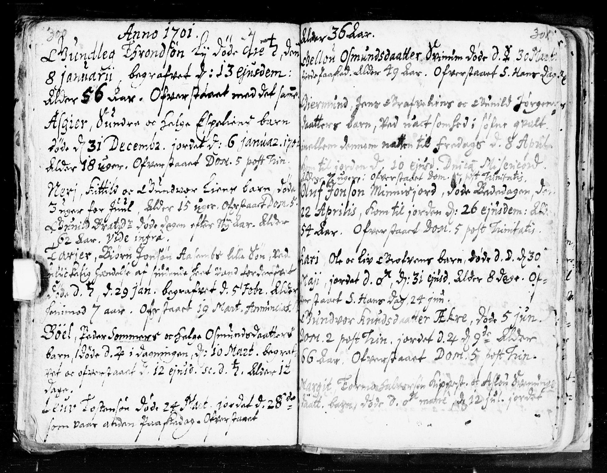 SAKO, Seljord kirkebøker, F/Fa/L0002: Ministerialbok nr. I 2, 1689-1713, s. 300-301