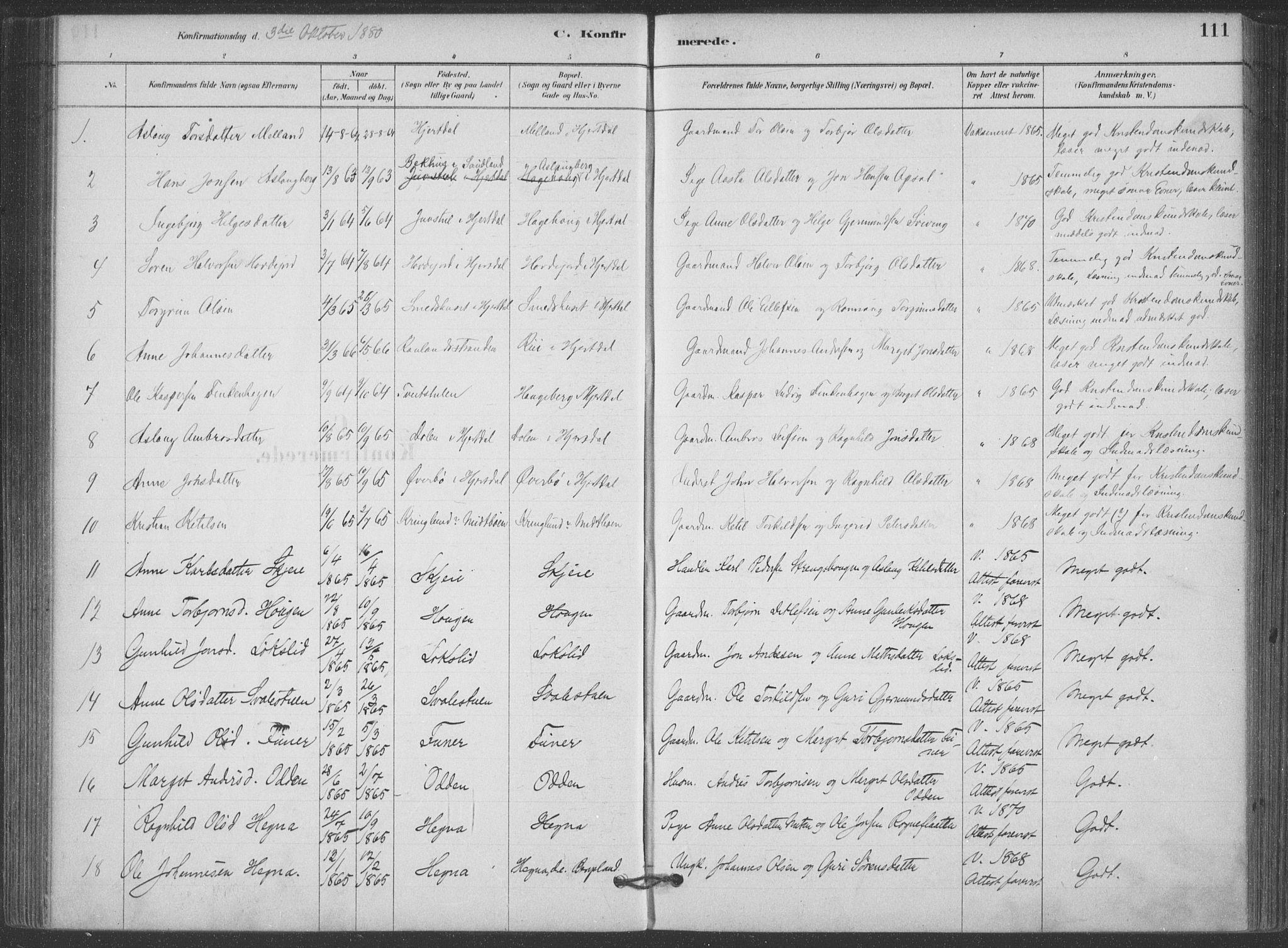 SAKO, Hjartdal kirkebøker, F/Fa/L0010: Ministerialbok nr. I 10, 1880-1929, s. 111
