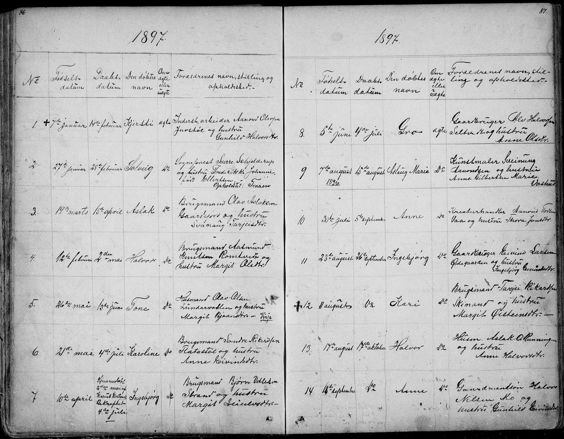 SAKO, Rauland kirkebøker, G/Ga/L0002: Klokkerbok nr. I 2, 1849-1935, s. 86-87