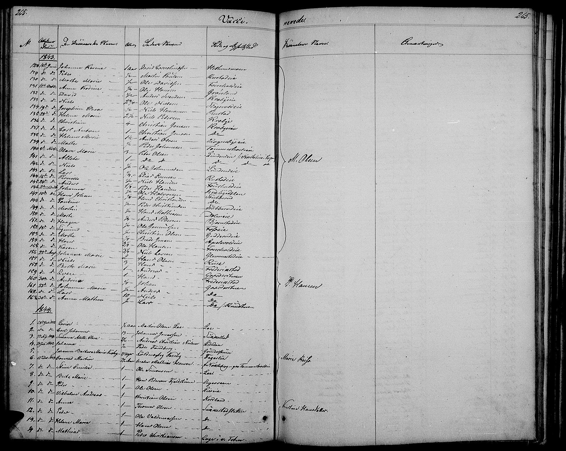 SAH, Østre Toten prestekontor, Klokkerbok nr. 2, 1840-1847, s. 265