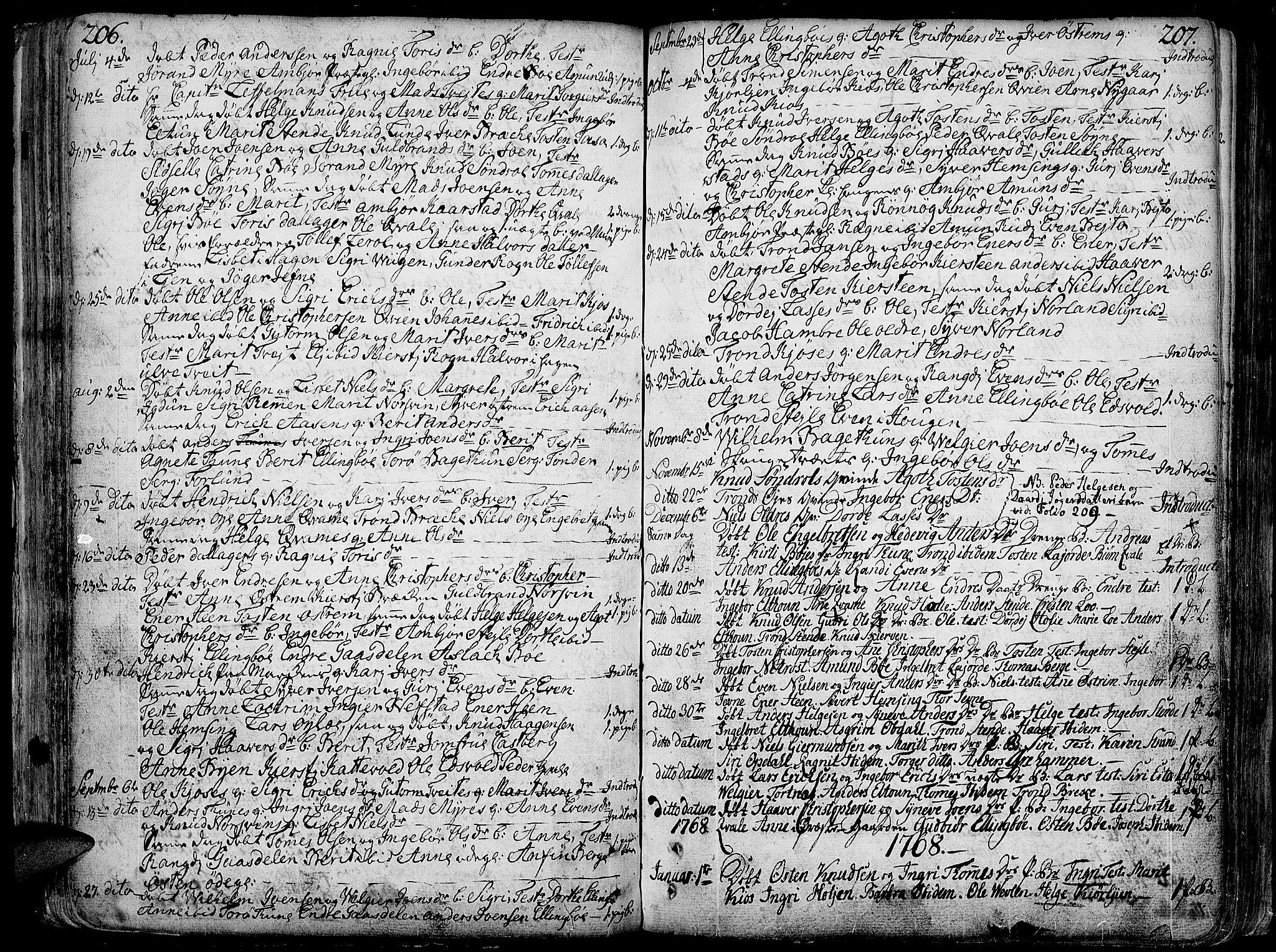 SAH, Vang prestekontor, Valdres, Ministerialbok nr. 1, 1730-1796, s. 206-207