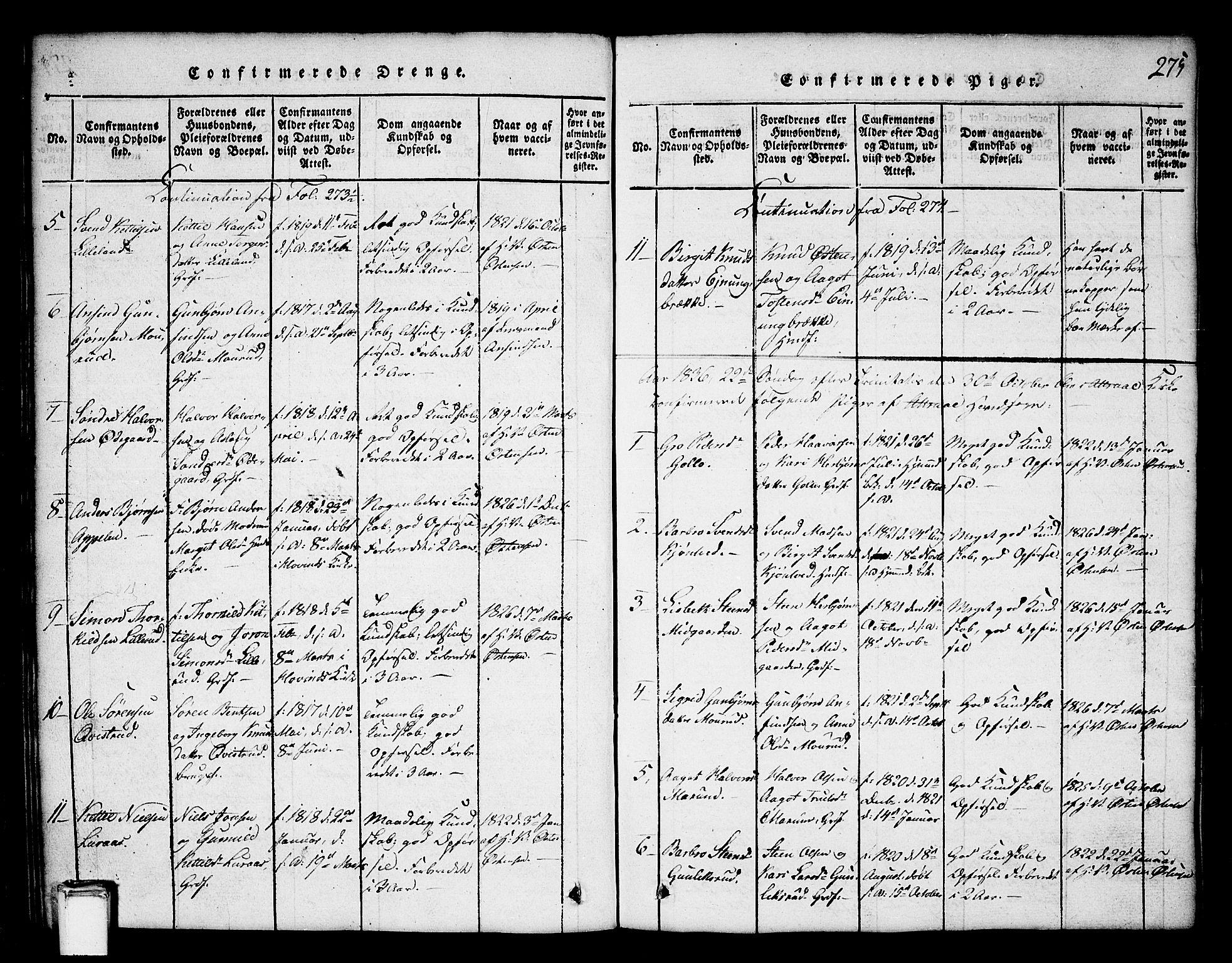 SAKO, Tinn kirkebøker, G/Ga/L0001: Klokkerbok nr. I 1, 1815-1850, s. 275