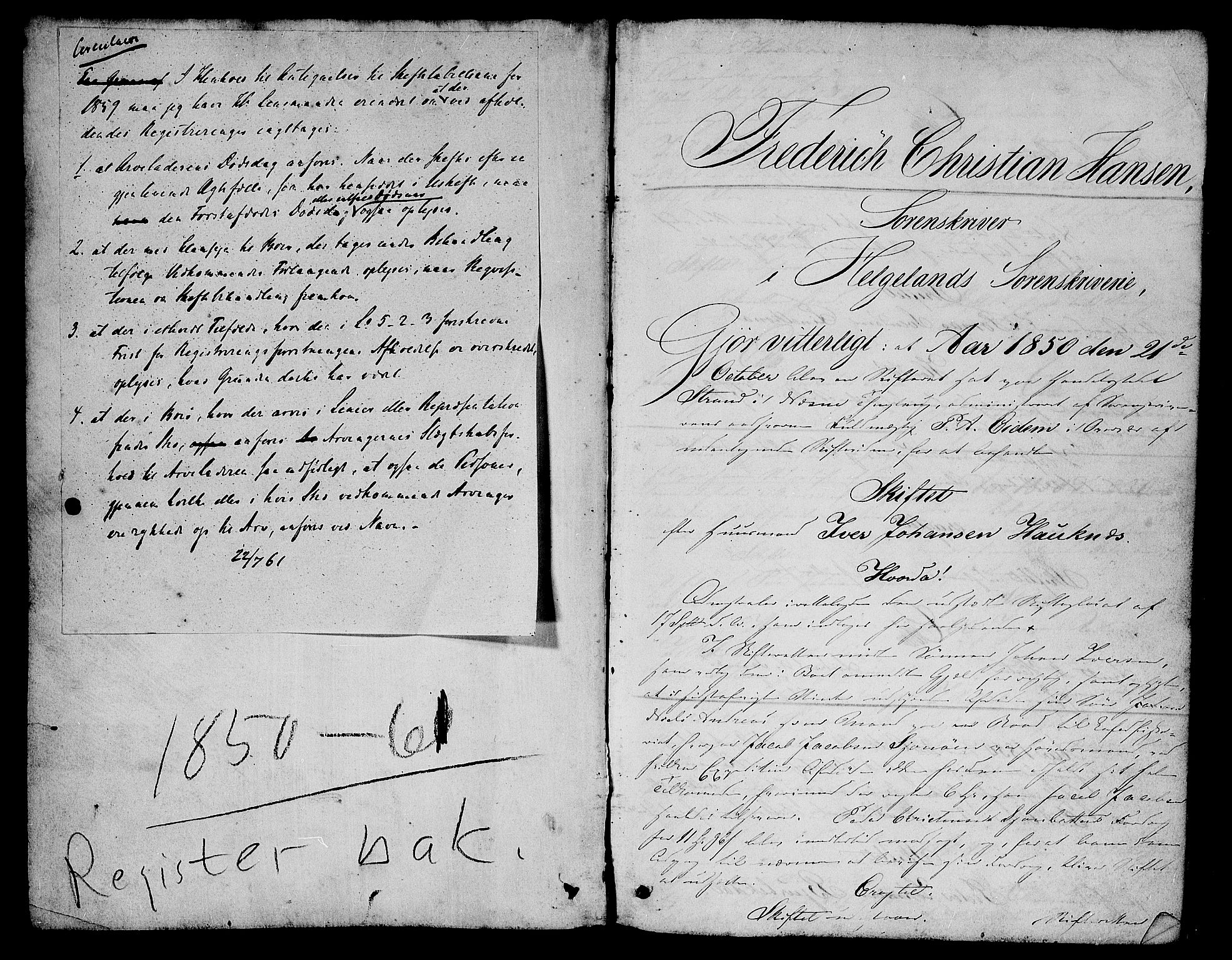 SAT, Helgeland sorenskriveri, 3/3A/L0106: Skifteprotokoll 51, 1850-1861, s. 0b-1a