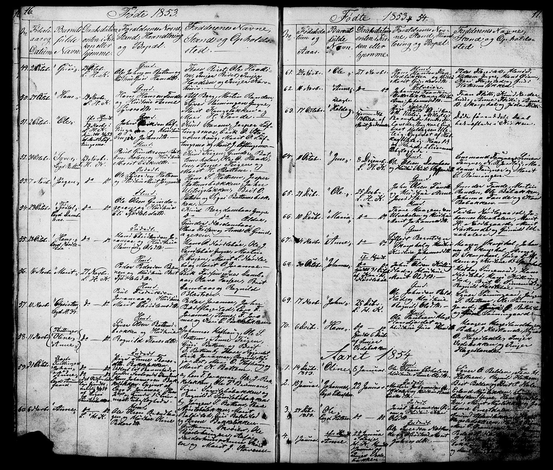SAH, Lesja prestekontor, Klokkerbok nr. 5, 1850-1894, s. 16-17