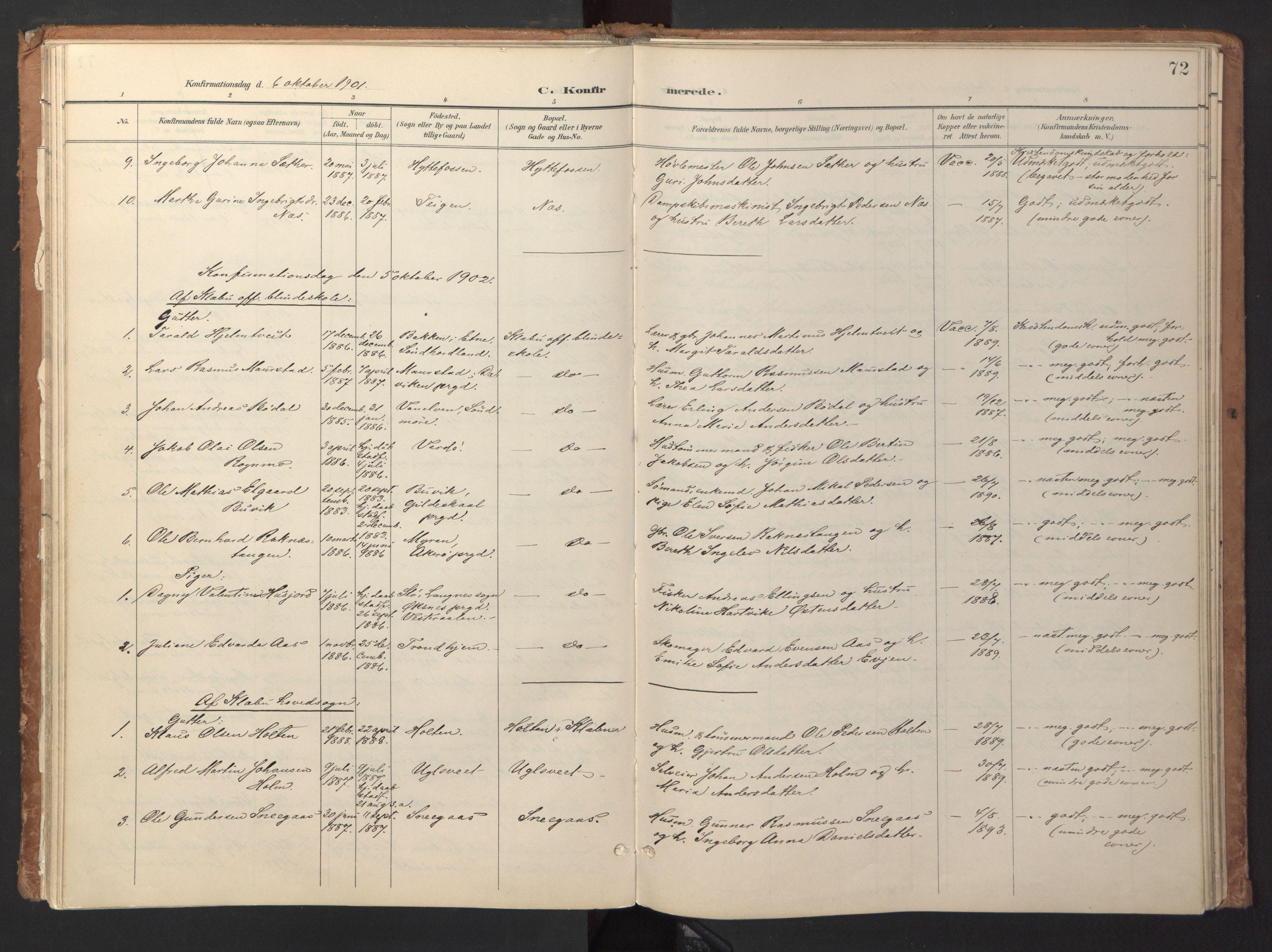 SAT, Ministerialprotokoller, klokkerbøker og fødselsregistre - Sør-Trøndelag, 618/L0448: Ministerialbok nr. 618A11, 1898-1916, s. 72