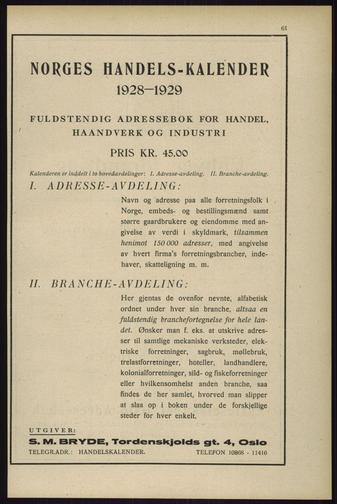 RA, Oslo adressebok (publikasjon)*, 1929, s. 61