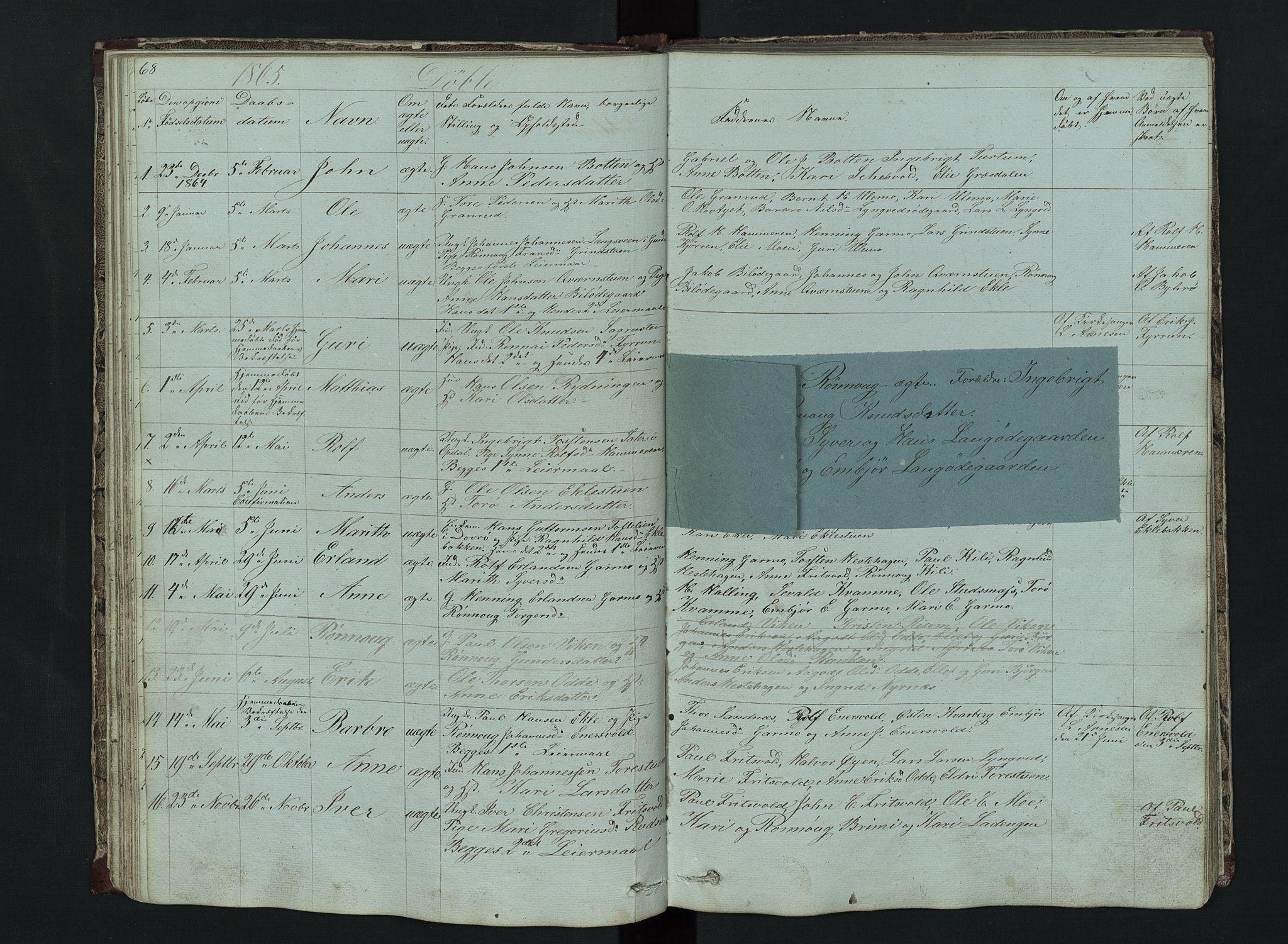 SAH, Lom prestekontor, L/L0014: Klokkerbok nr. 14, 1845-1876, s. 68-69