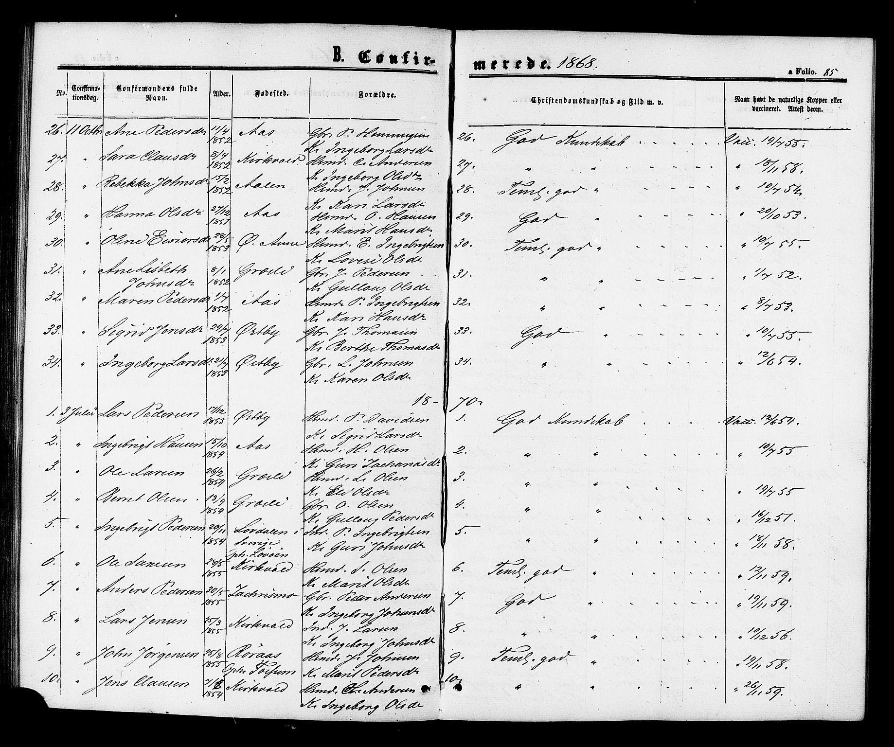 SAT, Ministerialprotokoller, klokkerbøker og fødselsregistre - Sør-Trøndelag, 698/L1163: Ministerialbok nr. 698A01, 1862-1887, s. 85
