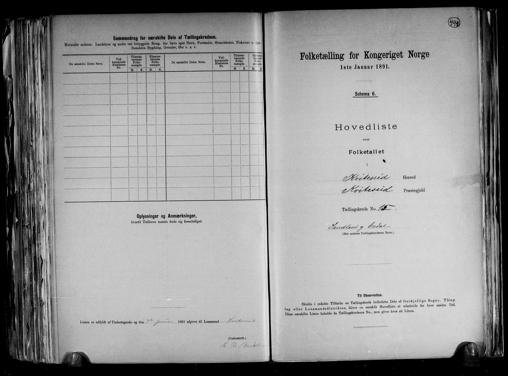 RA, Folketelling 1891 for 0829 Kviteseid herred, 1891, s. 33