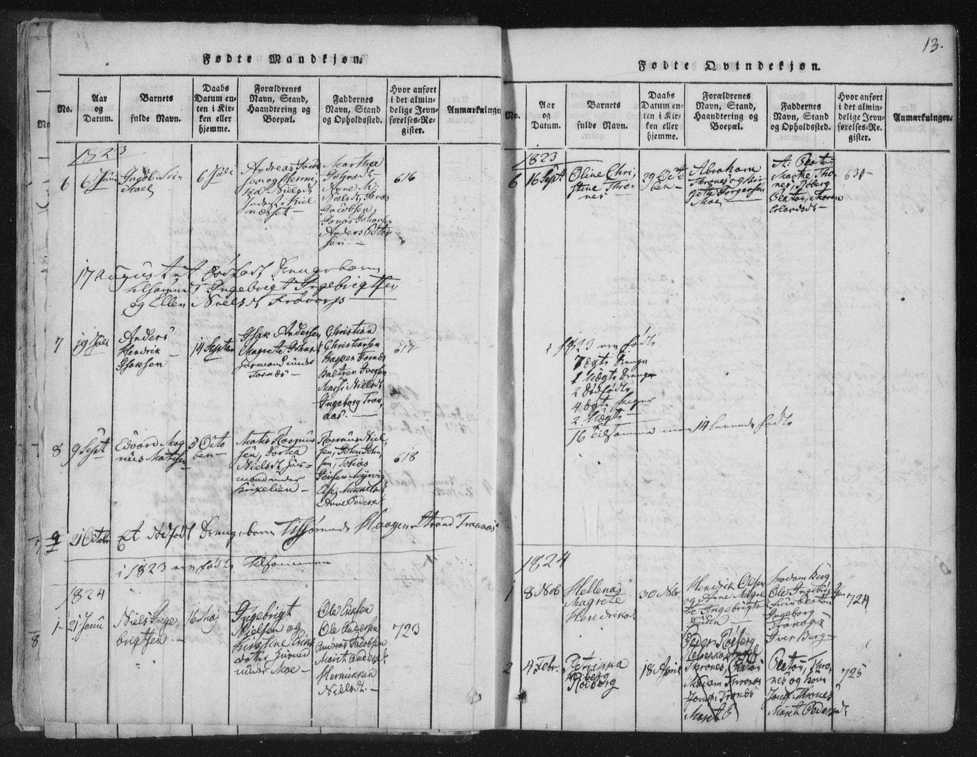 SAT, Ministerialprotokoller, klokkerbøker og fødselsregistre - Nord-Trøndelag, 773/L0609: Ministerialbok nr. 773A03 /1, 1815-1830, s. 13