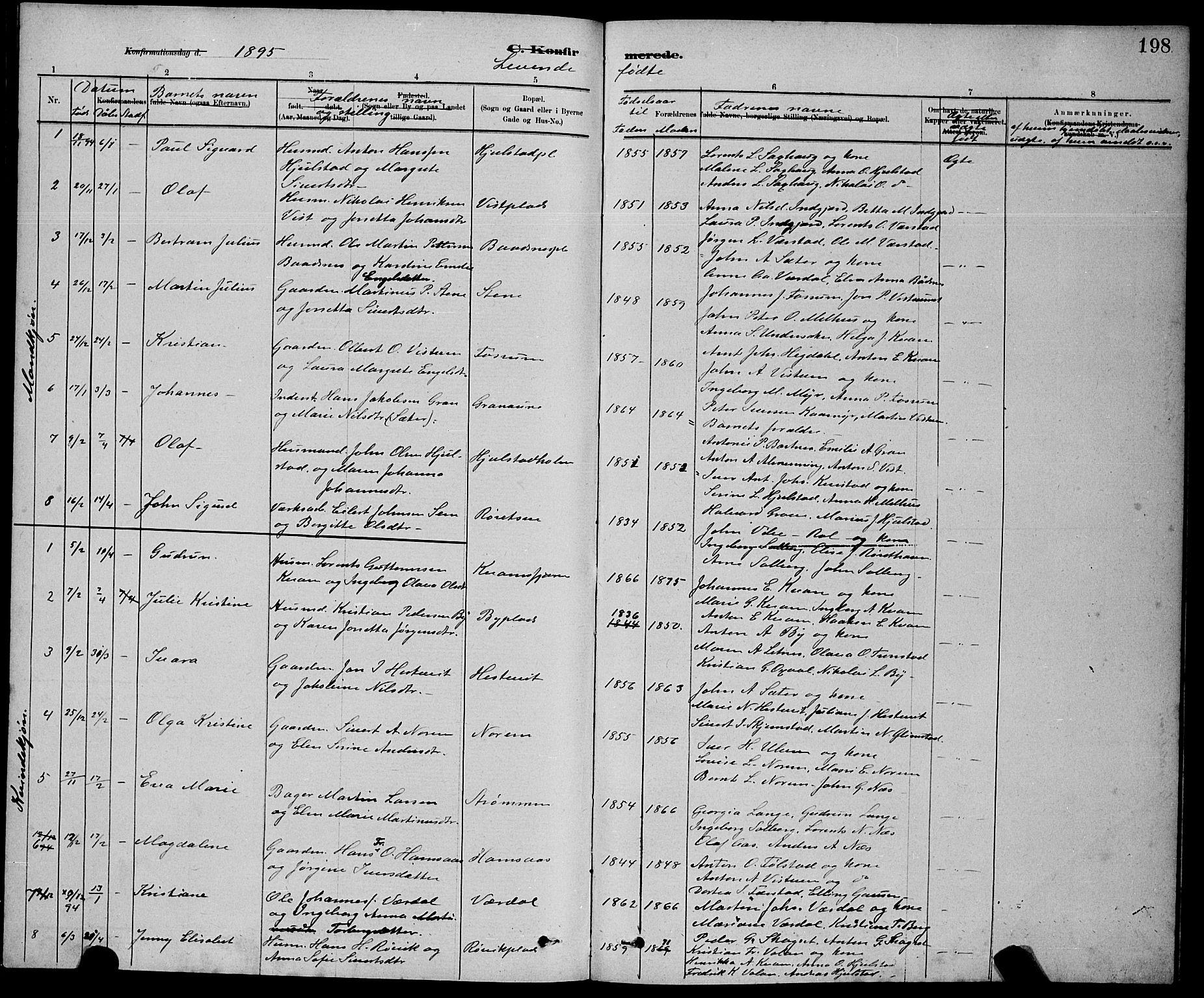 SAT, Ministerialprotokoller, klokkerbøker og fødselsregistre - Nord-Trøndelag, 730/L0301: Klokkerbok nr. 730C04, 1880-1897, s. 198