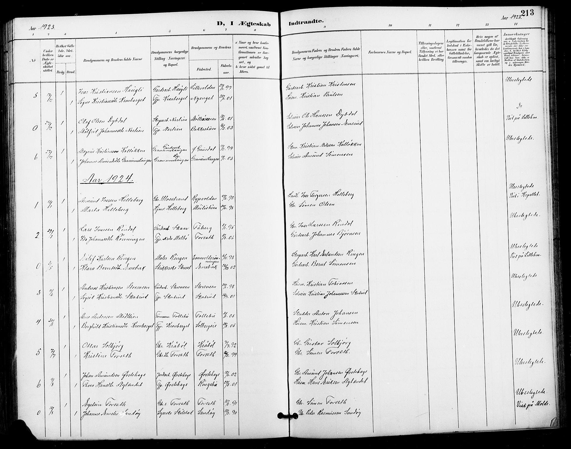 SAH, Vestre Gausdal prestekontor, Klokkerbok nr. 3, 1896-1925, s. 213