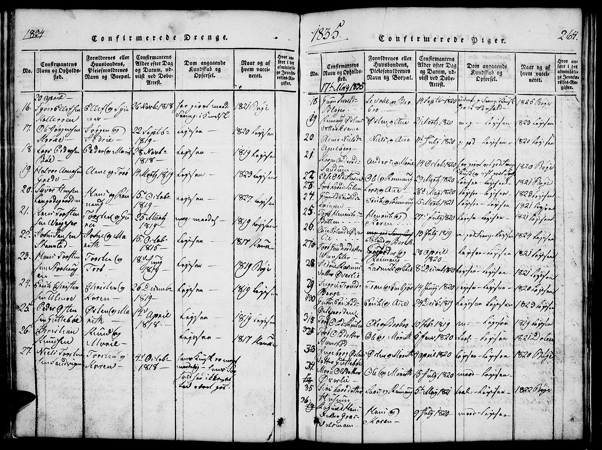 SAH, Lom prestekontor, L/L0001: Klokkerbok nr. 1, 1815-1836, s. 264