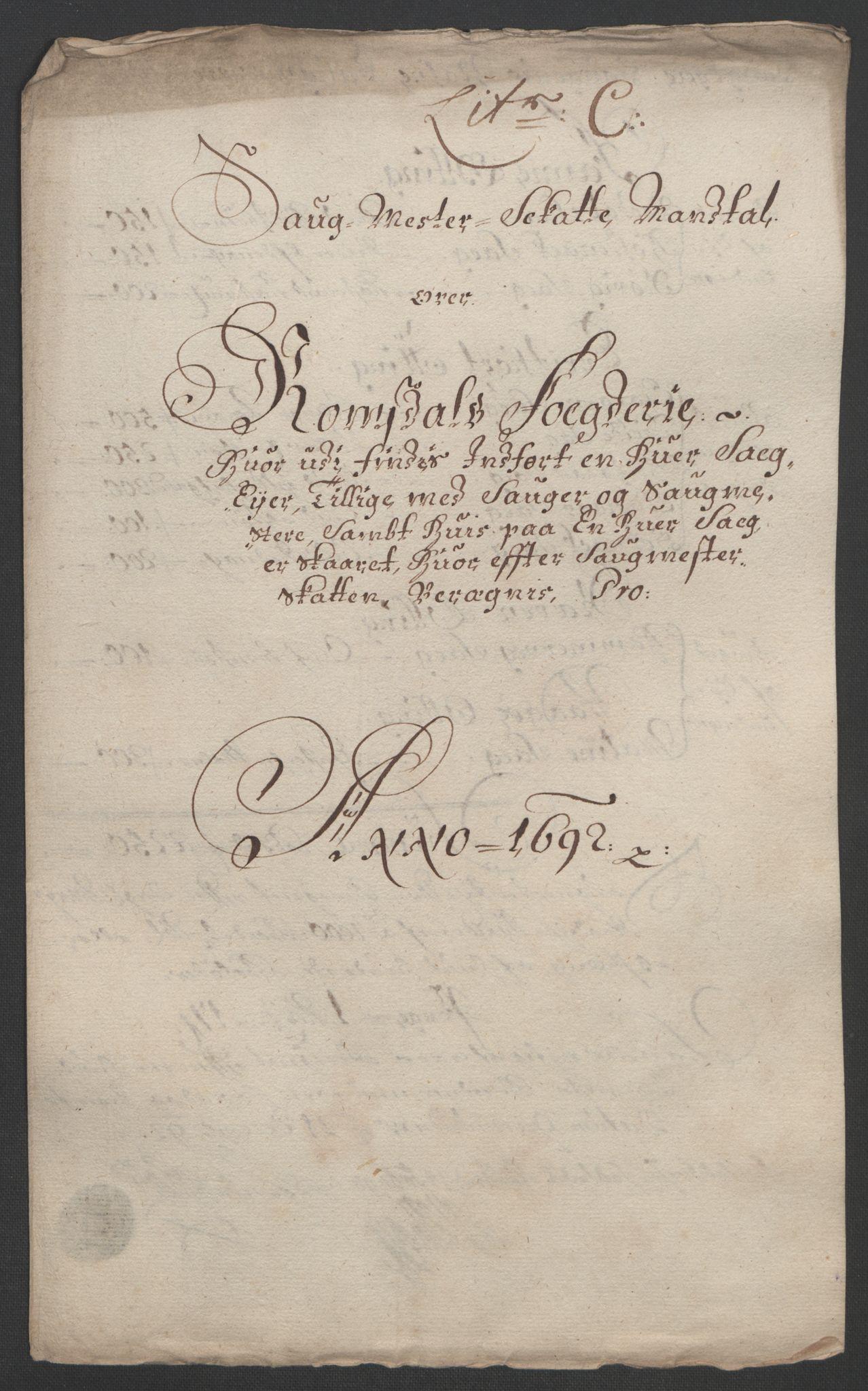 RA, Rentekammeret inntil 1814, Reviderte regnskaper, Fogderegnskap, R55/L3650: Fogderegnskap Romsdal, 1692, s. 74