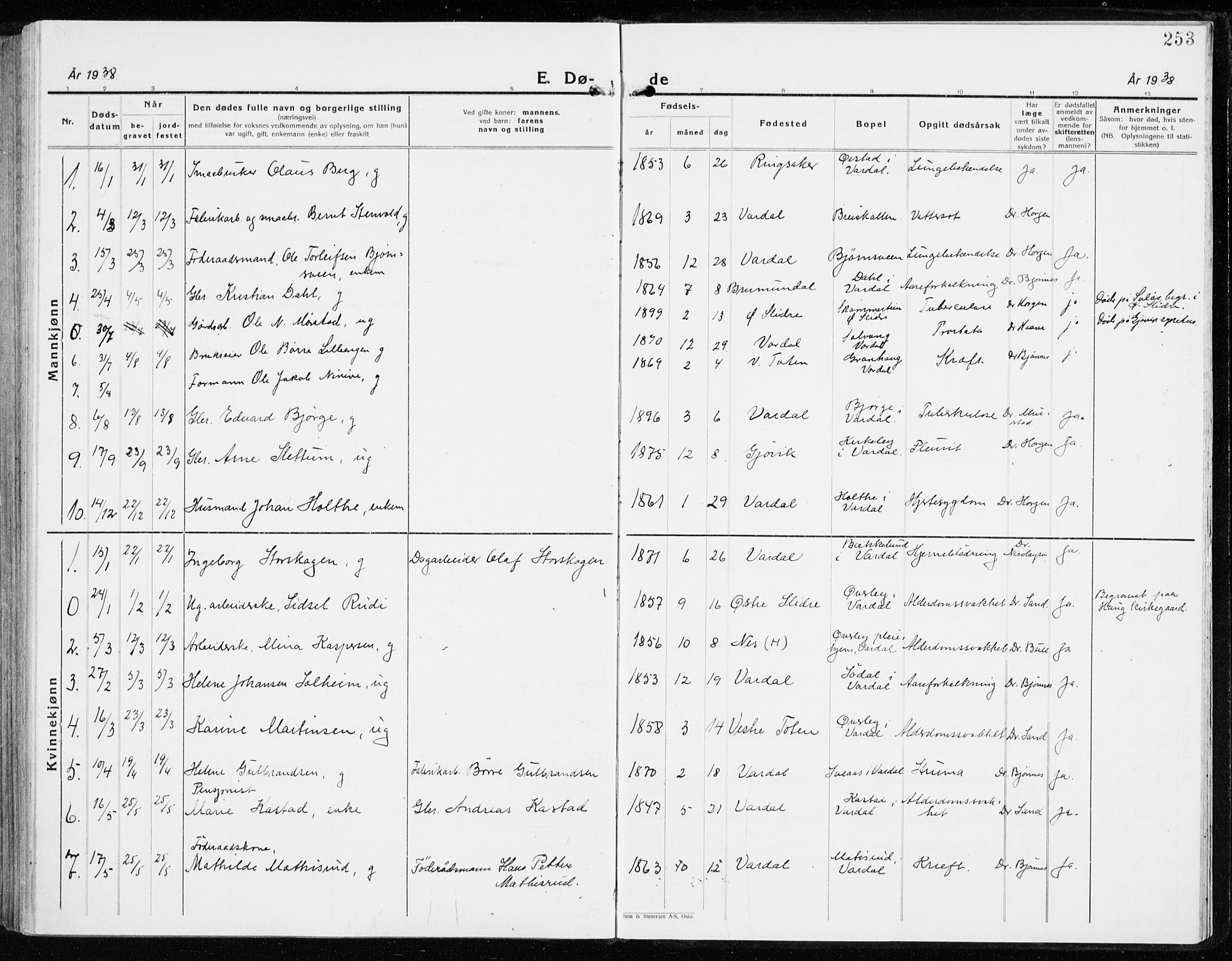 SAH, Vardal prestekontor, H/Ha/Haa/L0018: Ministerialbok nr. 18, 1930-1945, s. 253