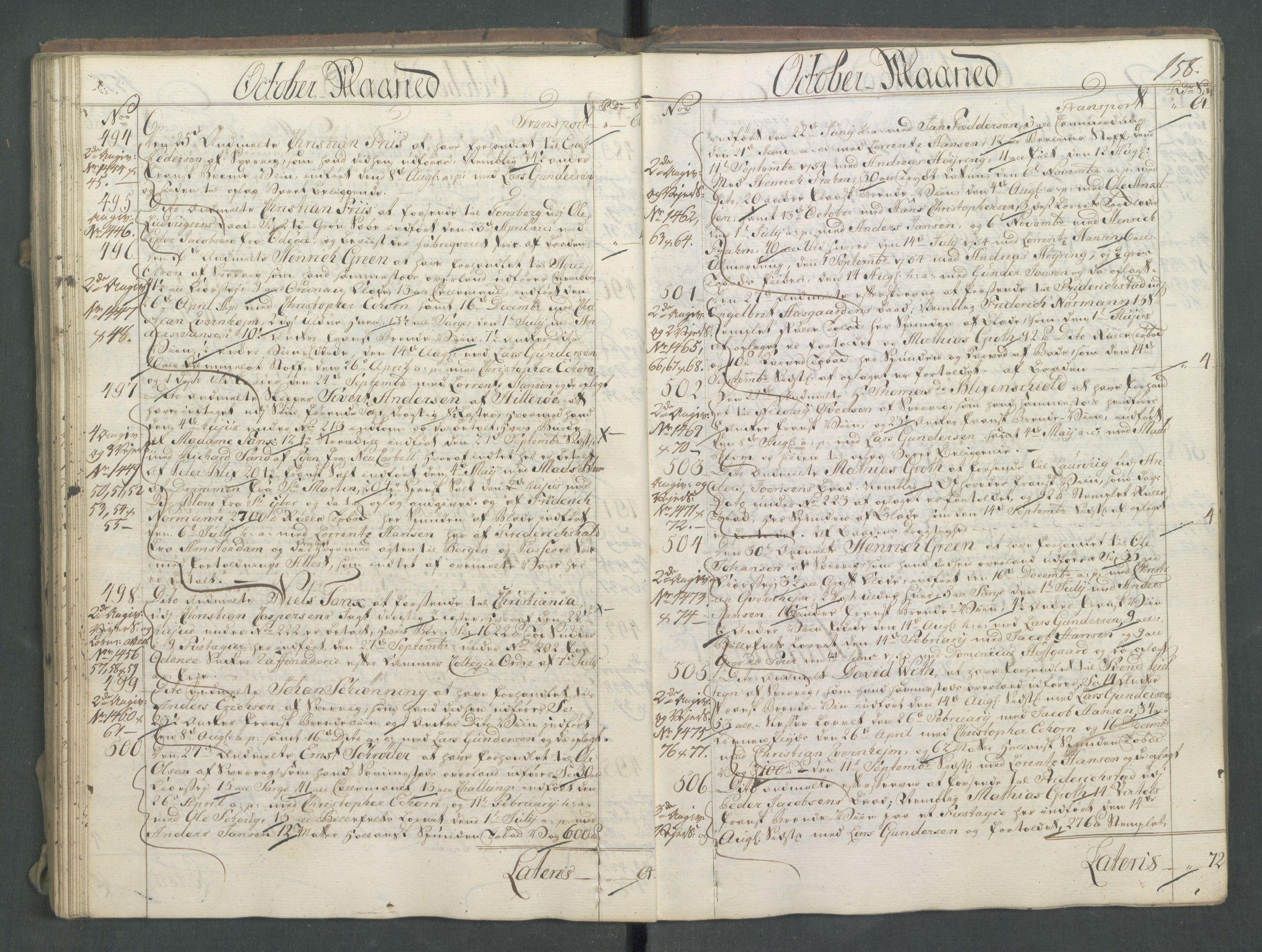 RA, Generaltollkammeret, tollregnskaper, R01/L0028: Tollregnskaper Fredrikshald, 1756, s. 158