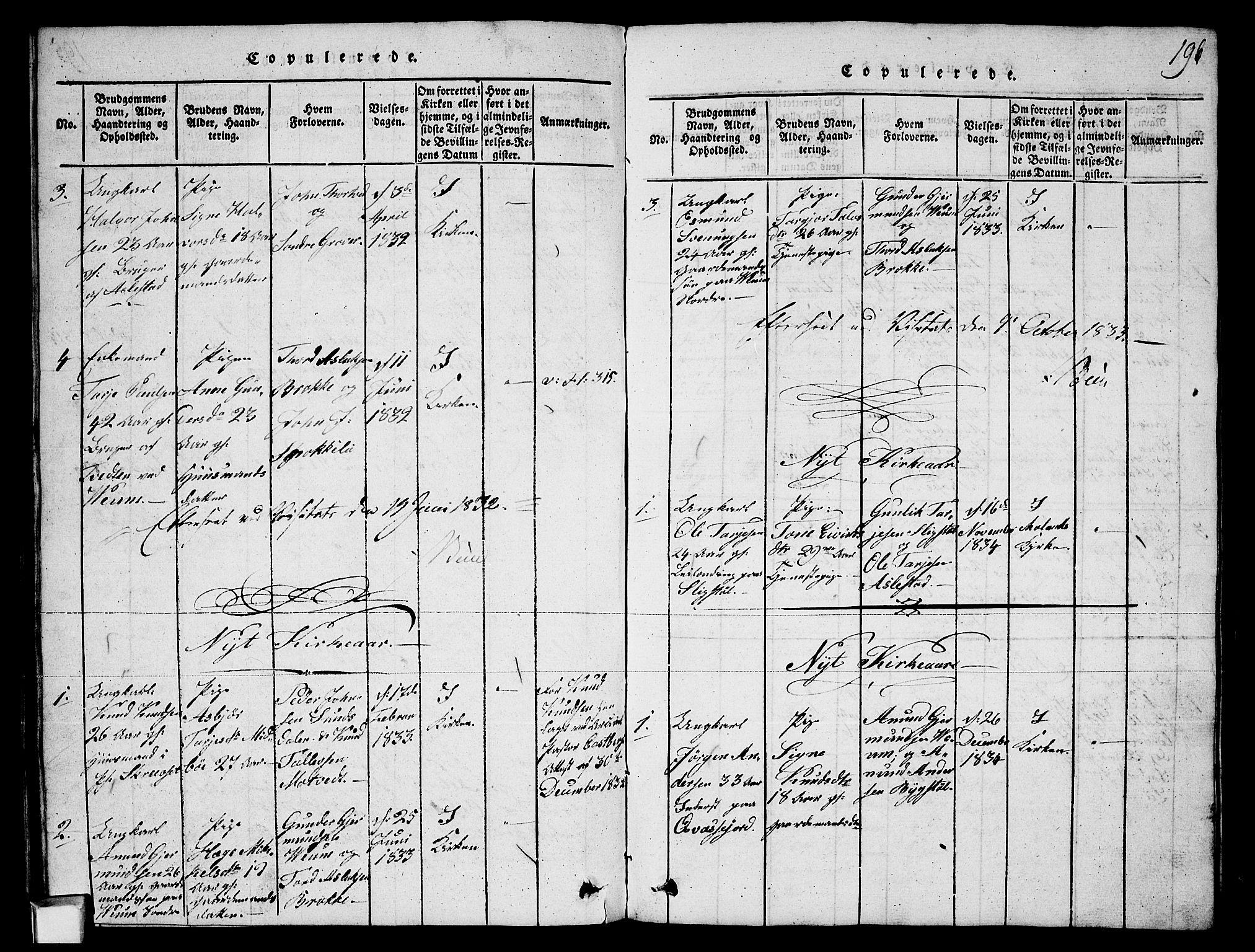SAKO, Fyresdal kirkebøker, G/Ga/L0003: Klokkerbok nr. I 3, 1815-1863, s. 196