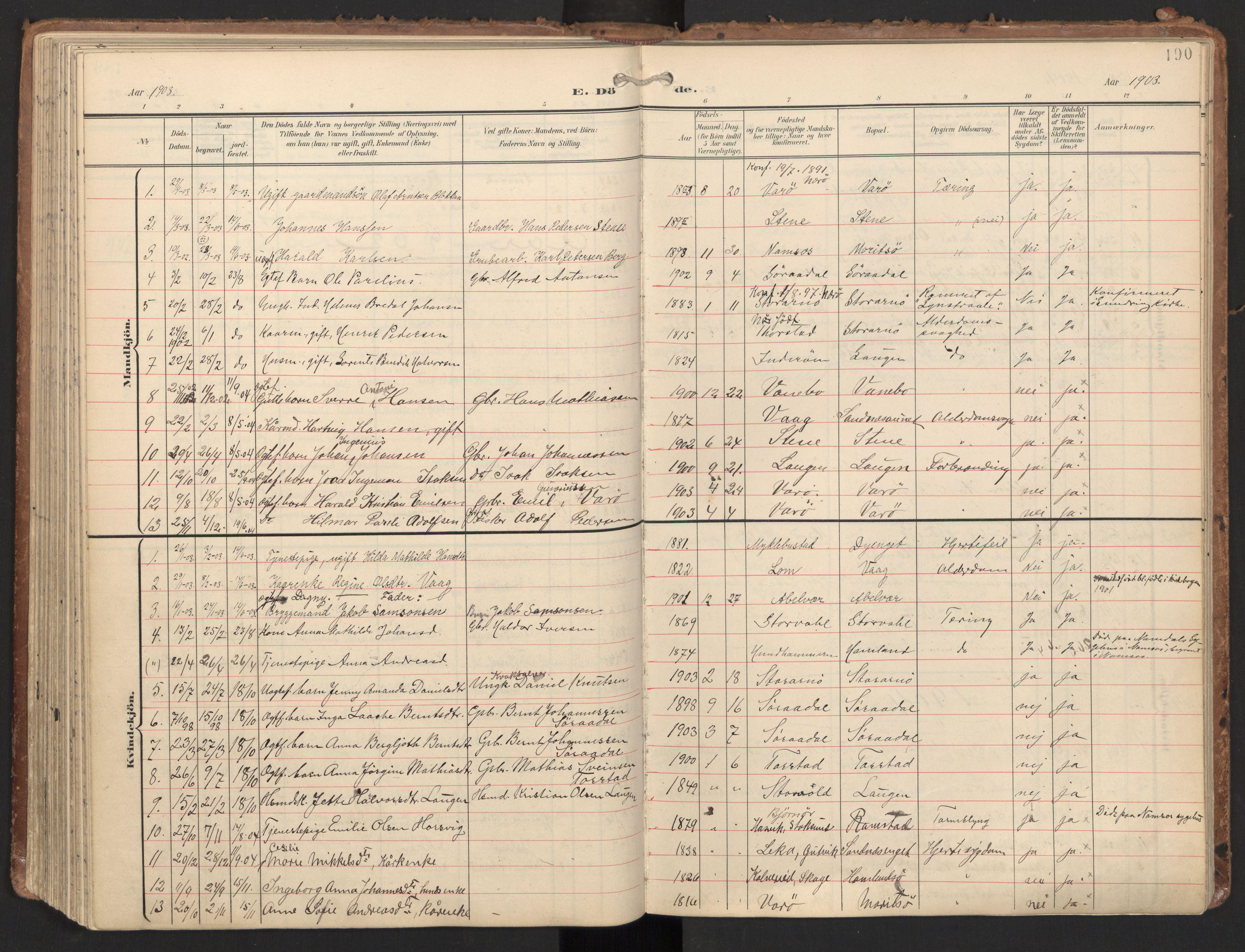 SAT, Ministerialprotokoller, klokkerbøker og fødselsregistre - Nord-Trøndelag, 784/L0677: Ministerialbok nr. 784A12, 1900-1920, s. 190
