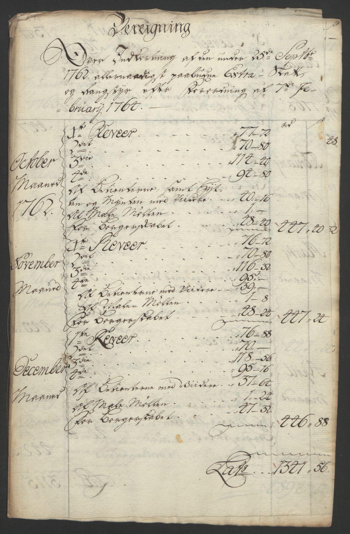 RA, Rentekammeret inntil 1814, Reviderte regnskaper, Bergverksregnskaper, R/Rc/Rca/L0843: Ekstraskatt, 1762-1765, s. 167