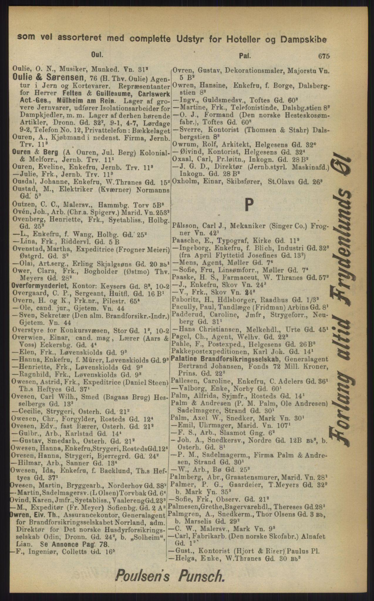 RA, Kristiania adressebok (publikasjon)*, 1903, s. 675